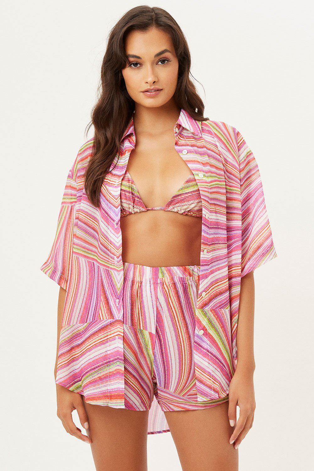 Fifi Sustainable Button Up Shirt - Dance Pink