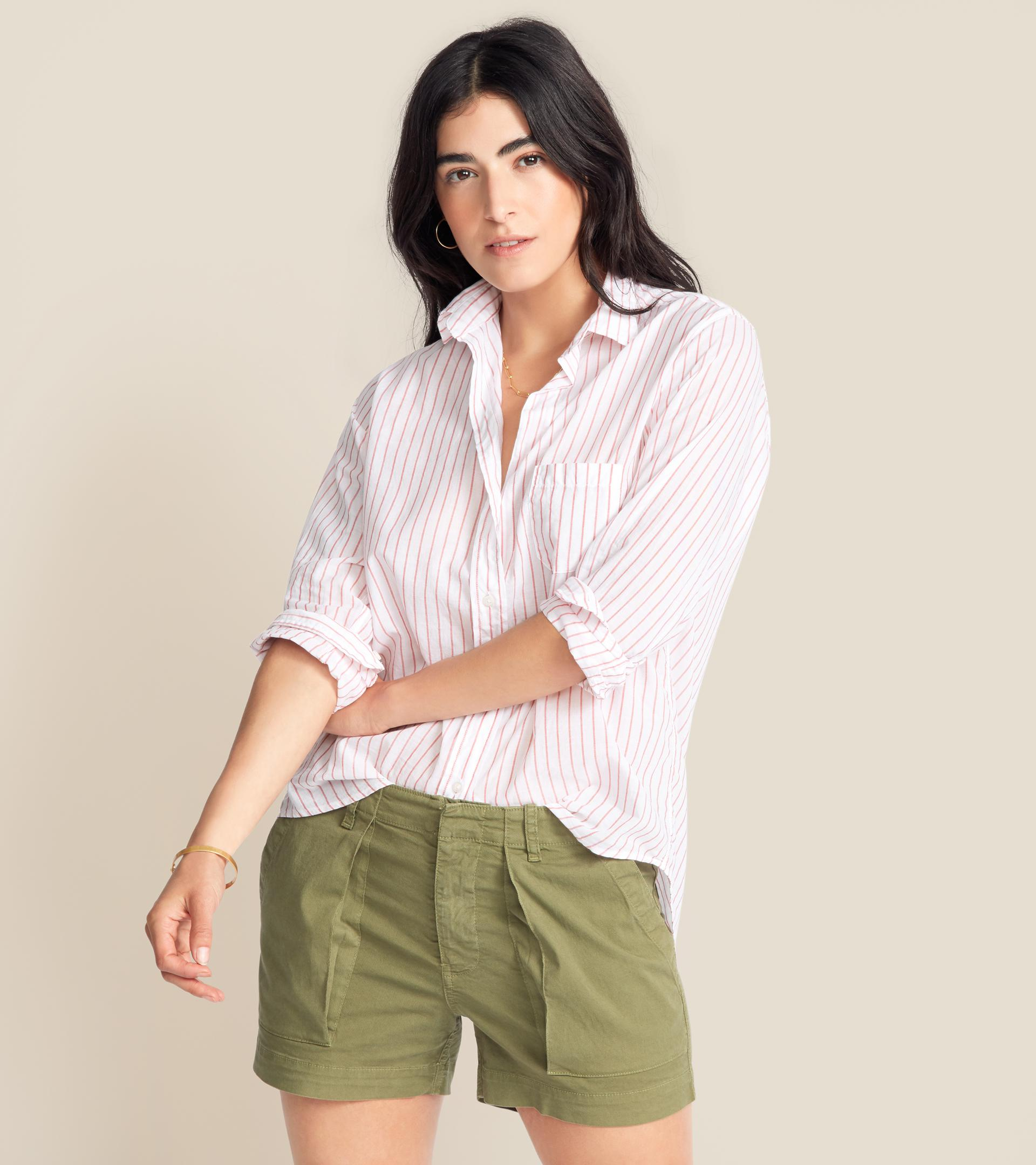 The Hero Button-Up Shirt Red Stripes, Tissue Cotton