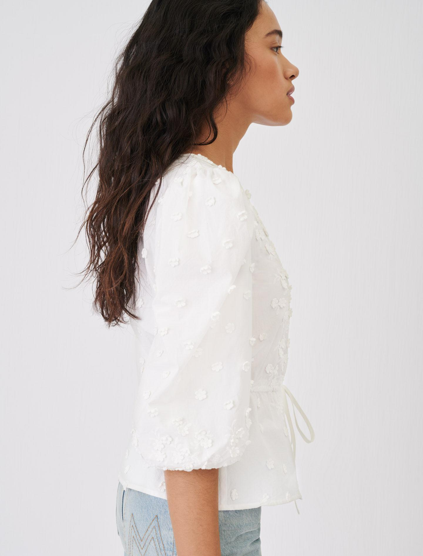 EMBROIDERED TOP WITH GATHERED WAIST 2