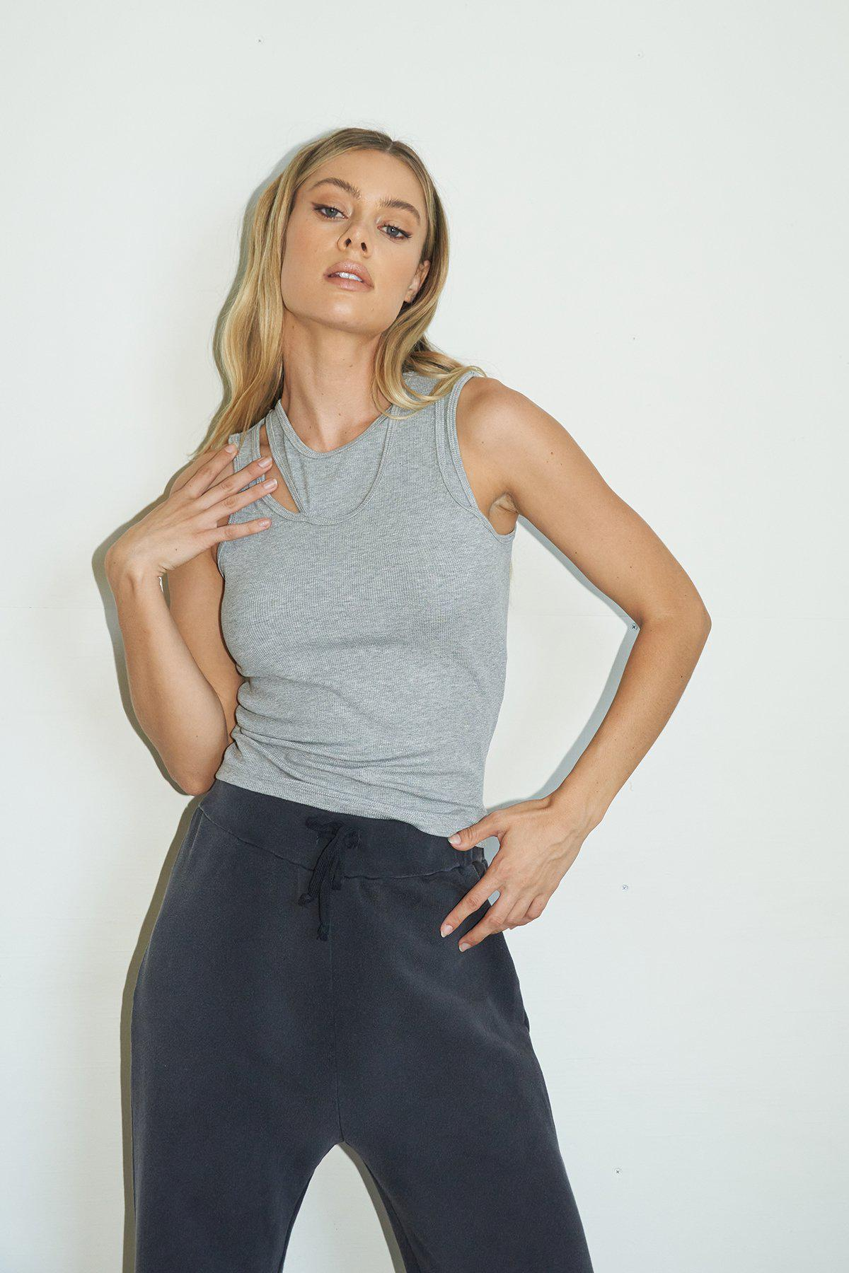 Cut Out Dylan Tank - Heather Grey