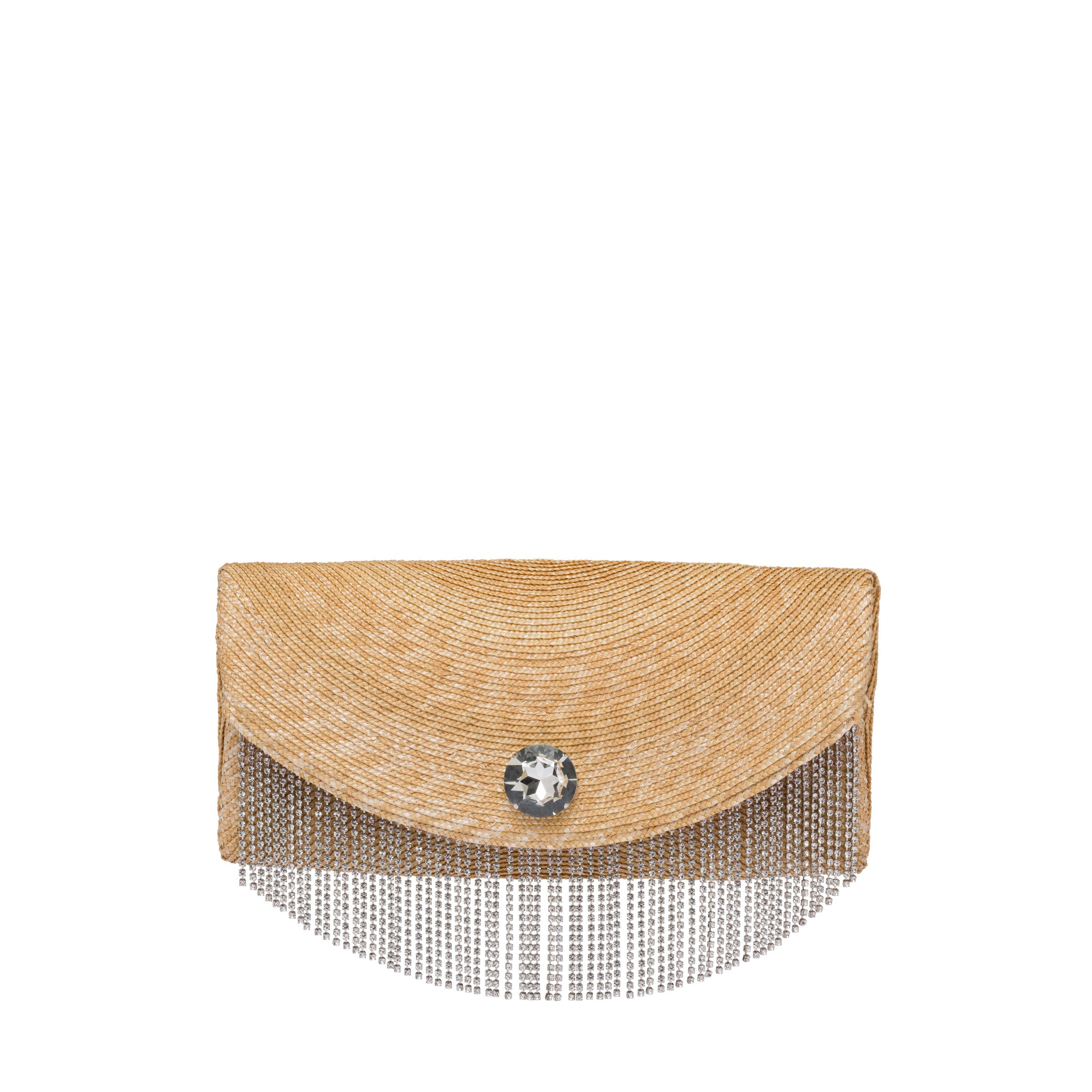 Straw Clutch With Crystals Women Tan