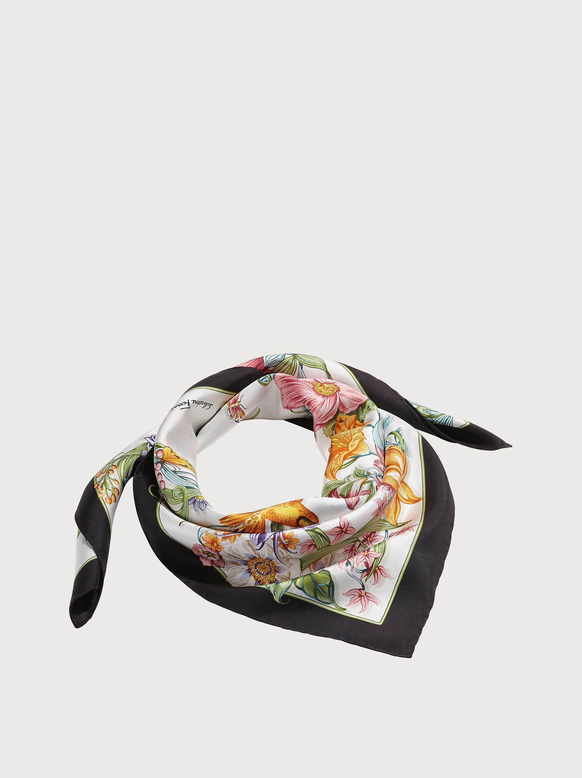 FLOWERS AND LETTERS PRINT SILK SCARF 1