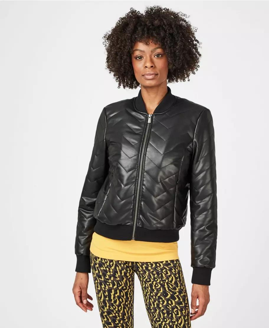Falcon Leather Look Bomber Jacket
