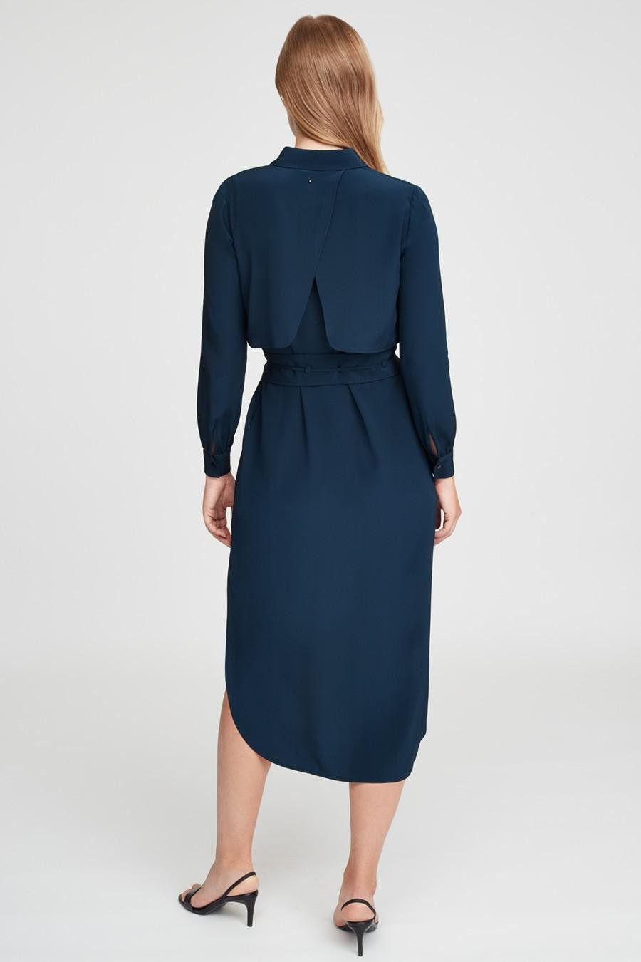 Women's Silk High-Low Shirt Dress in Navy   Size: Large   3 Ply Crepe Silk by Cuyana 3