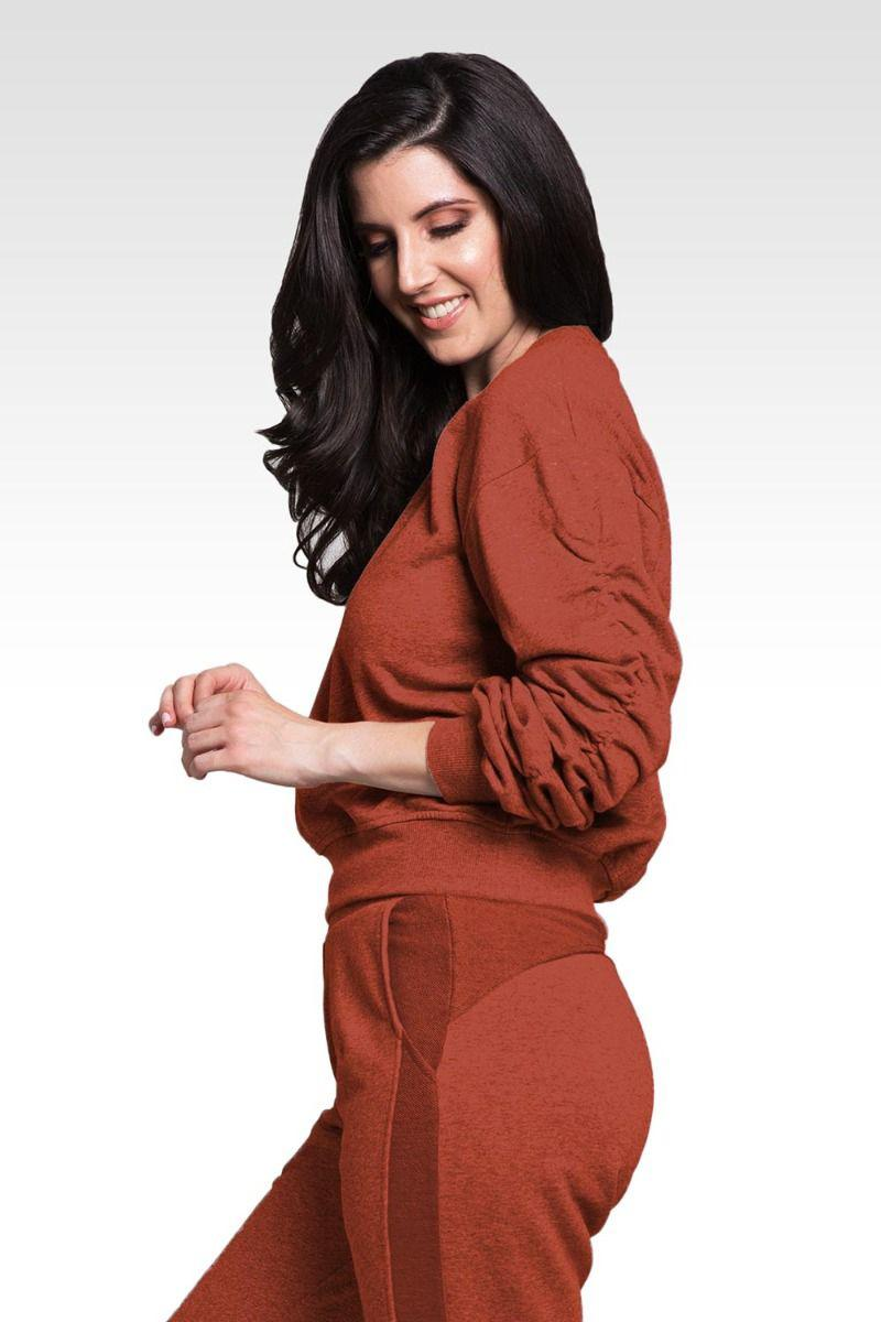 Arie Women's Long Sleeve Ruched Pullover Sweatshirt
