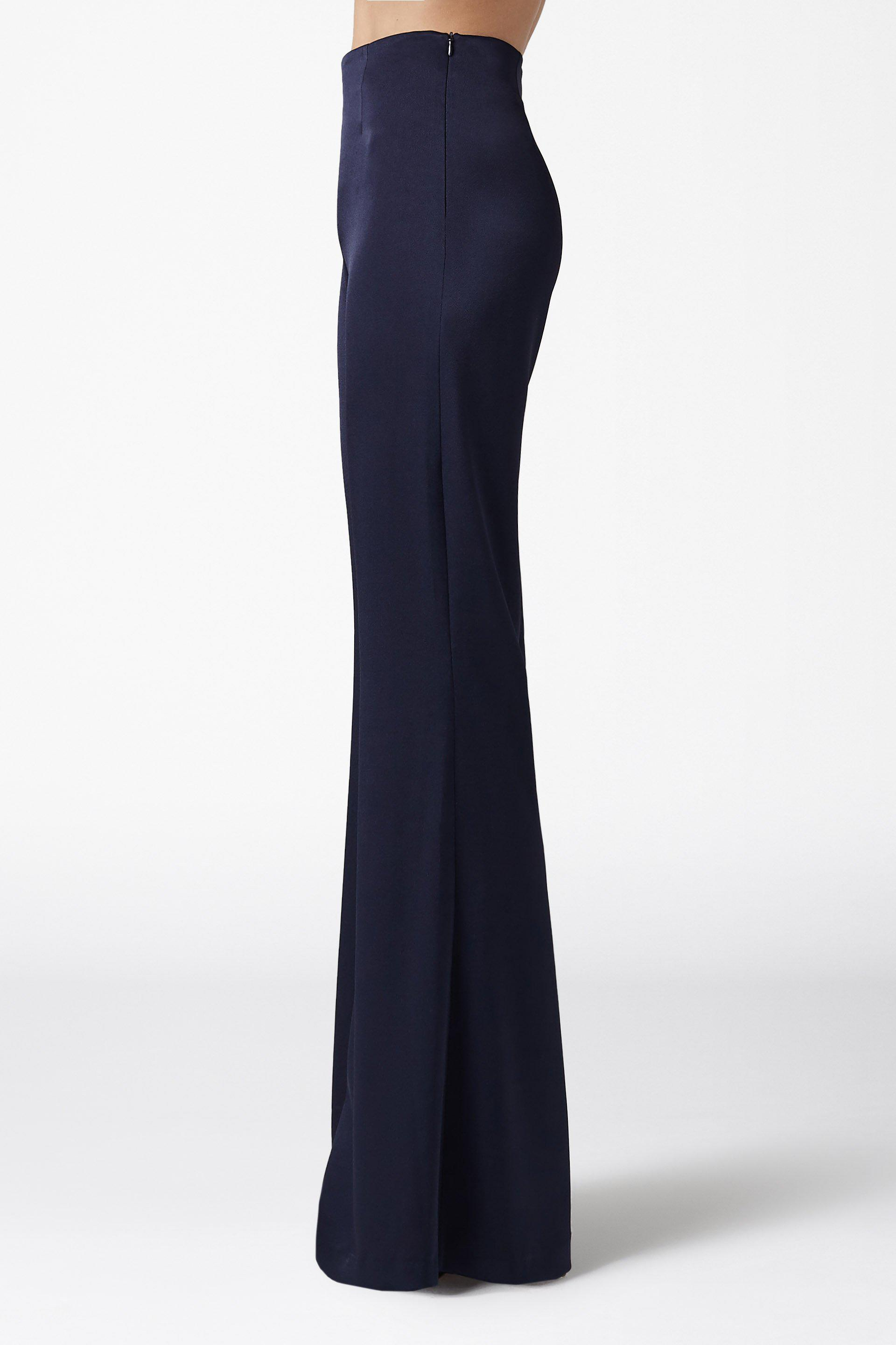 High Waisted Satin Trousers - Midnight 2