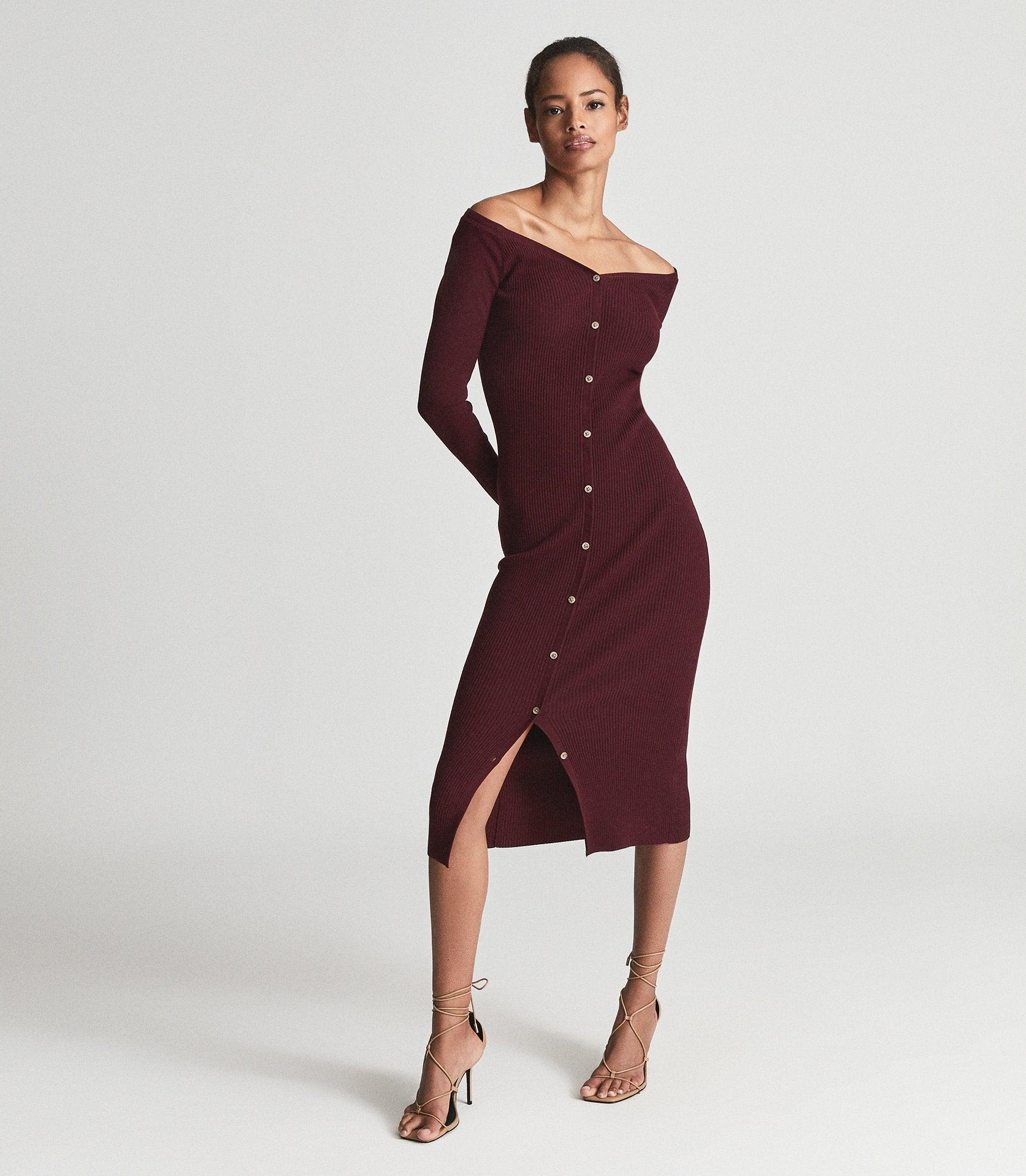 CAMILLE - KNITTED BUTTON THROUGH MIDI DRESS