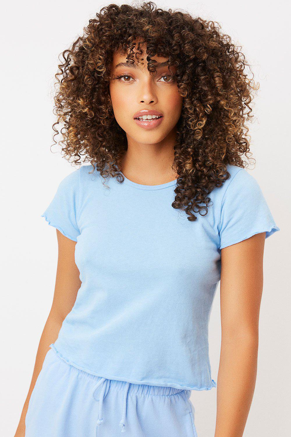 Baby Tee High Neck Crop Top - Chambray