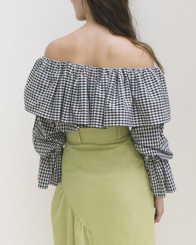 Clara Off-Shoulder Blouse Black & White Gingham - SPECIAL PRICE 2