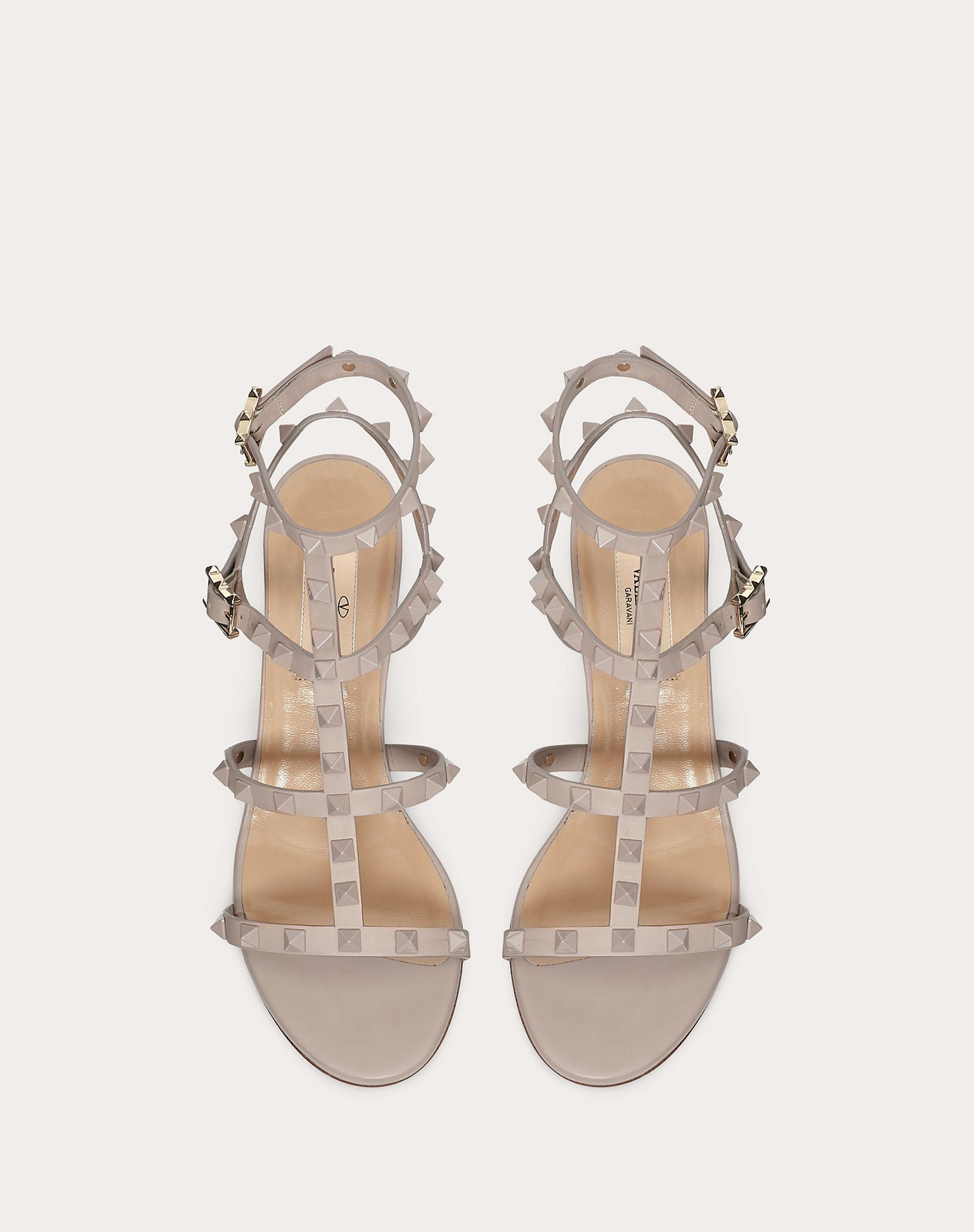 Rockstud Ankle Strap Calfskin Leather Sandal with Tonal Studs 60 mm 3