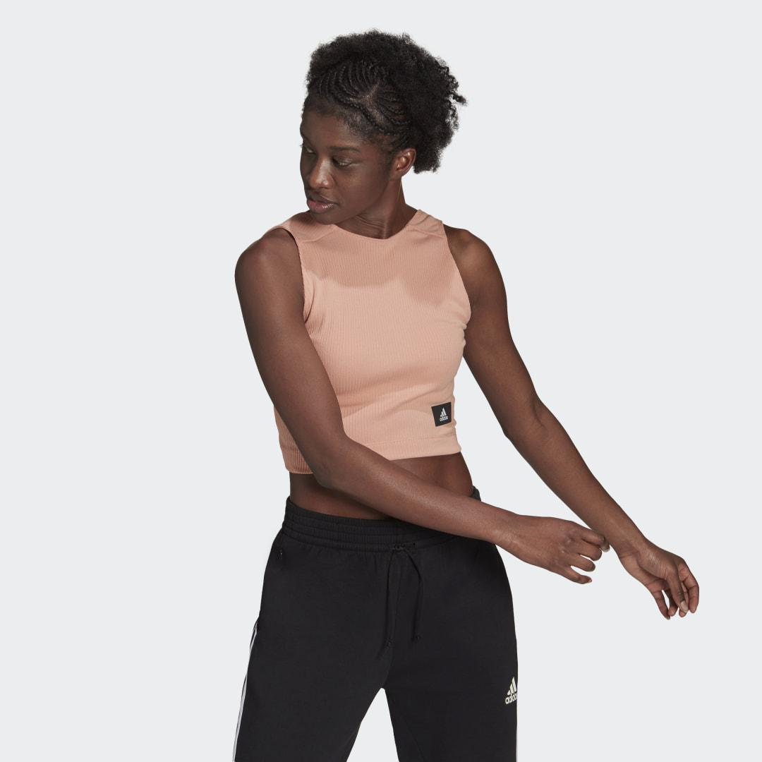 Sportswear Cropped Ribbed Tank Top Ambient Blush