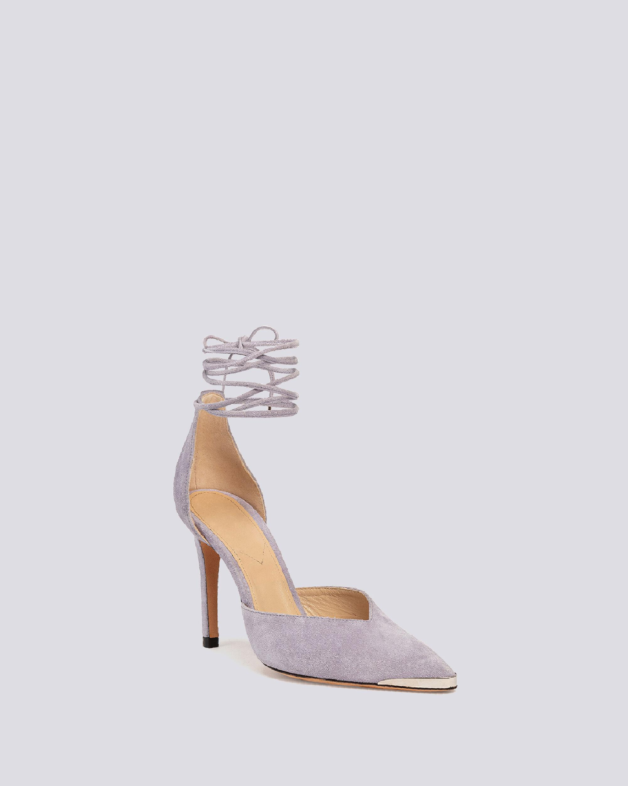 MIFAL SUEDE POINTED TOE ANKLE TIE PUMPS 1