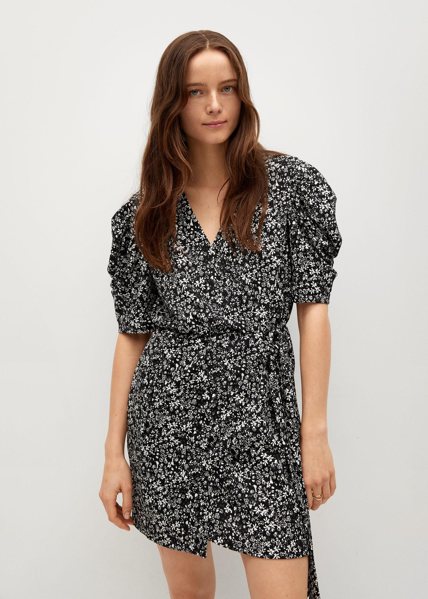 Printed dress with balloon sleeves