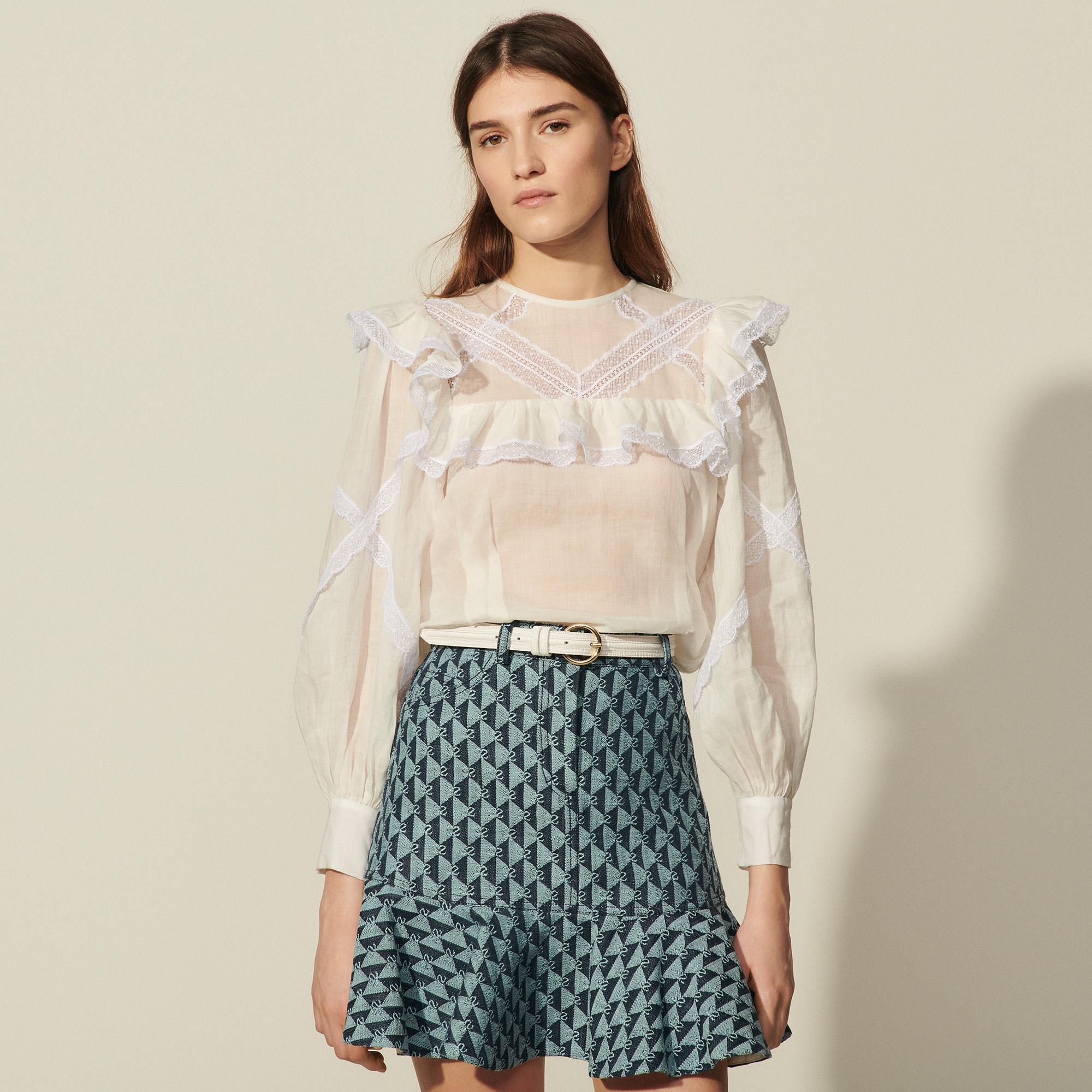 Top with braid trim and ruffles