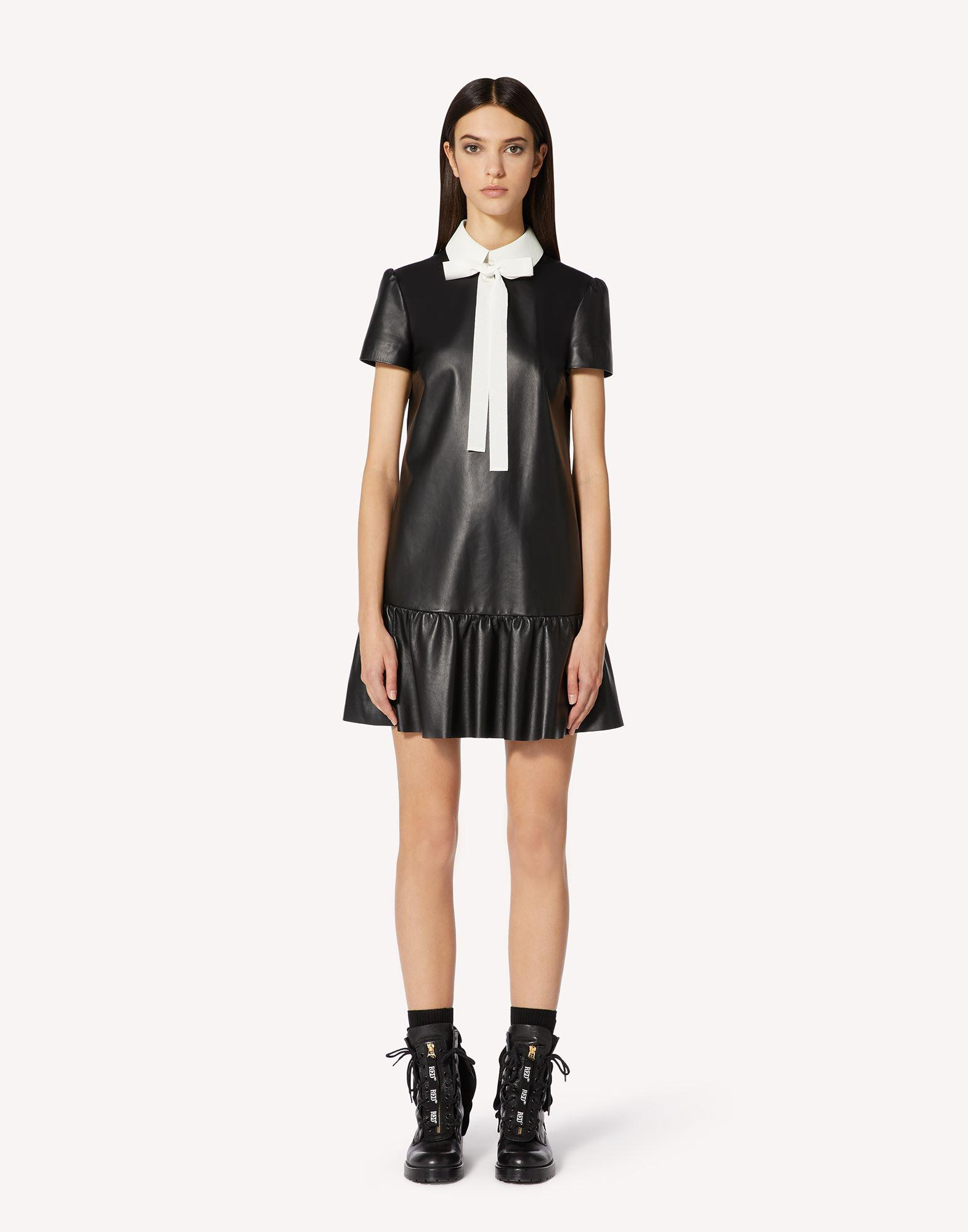 NAPPA LEATHER DRESS WITH COLLAR DETAIL