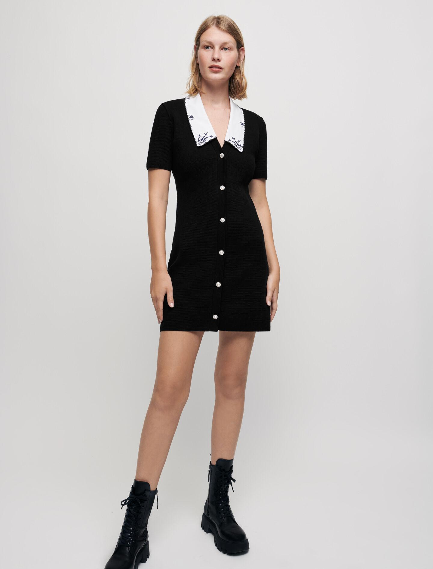 KNIT DRESS WITH EMBROIDERED COLLAR