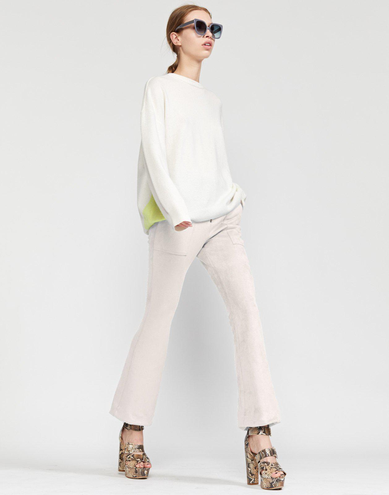 Nadia Stretch Faux-suede Flared Pant 1