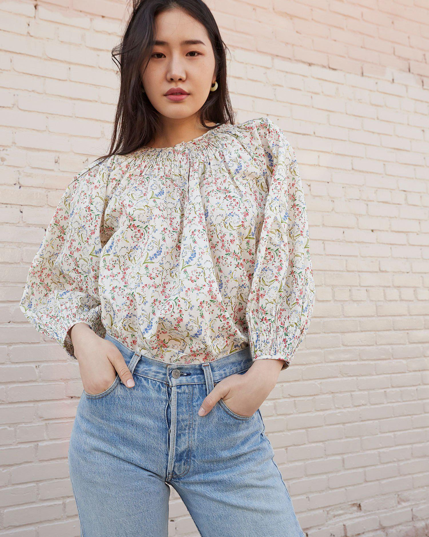 Lucia Romance Floral Smocked Blouse