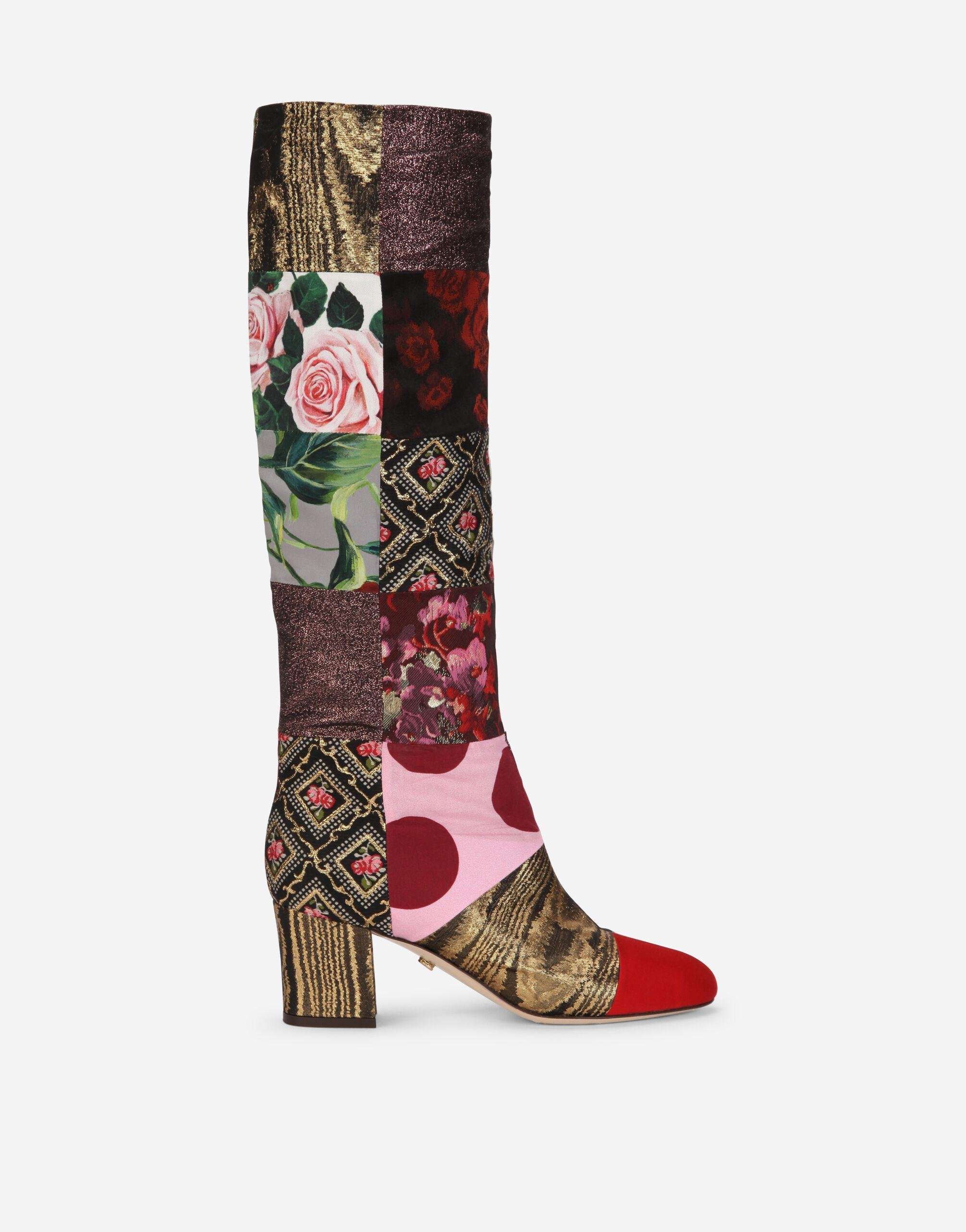 Patchwork fabric boots