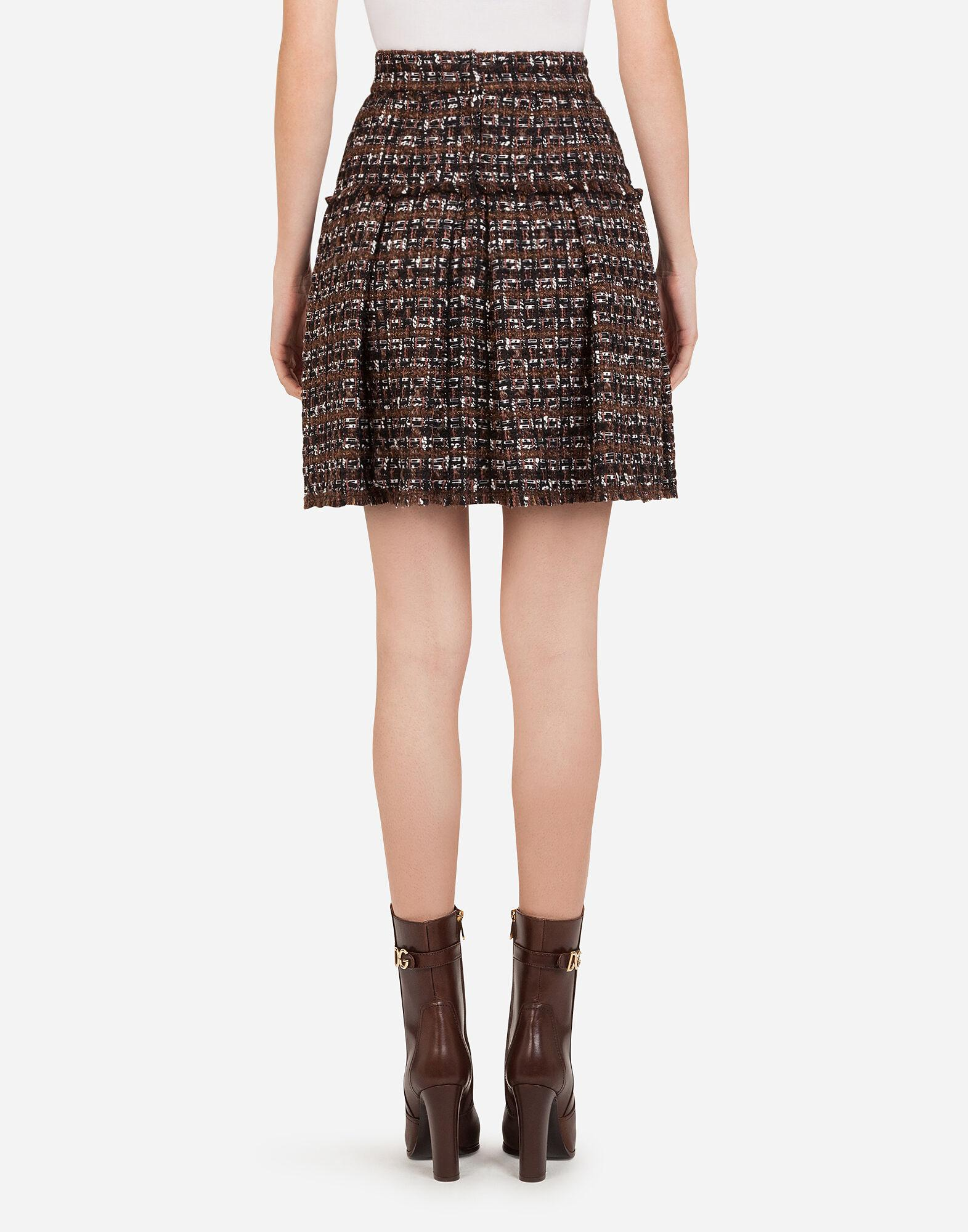 Short tweed circle skirt with flounce detailing 1