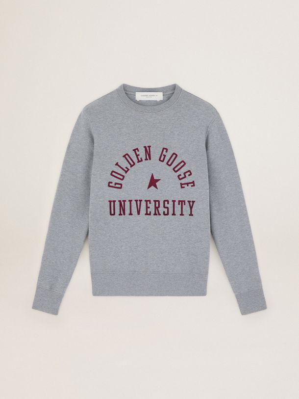 Gray melange Journey Collection Athena sweatshirt with maroon logo on the front 2
