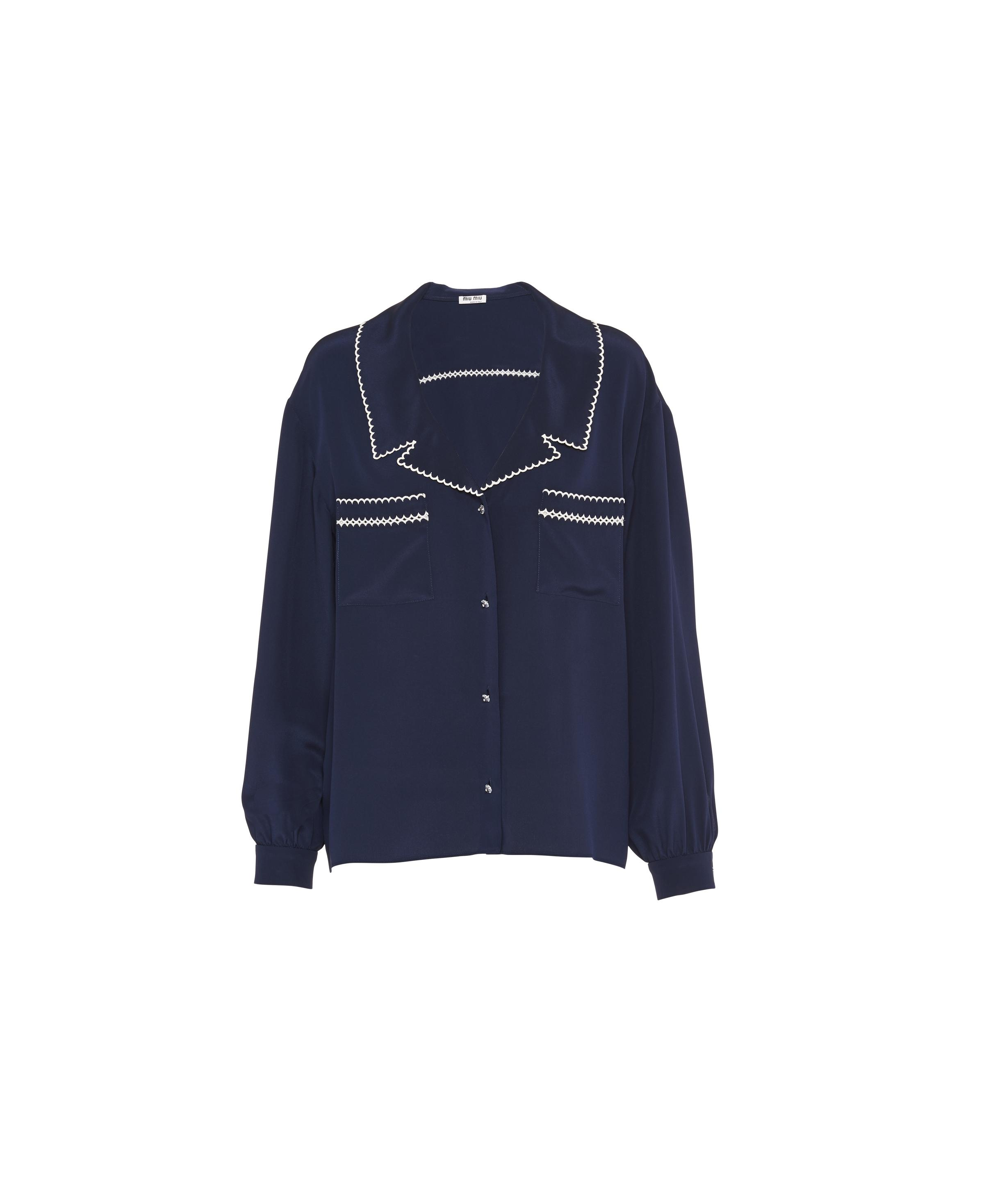 Embroidered Crepe De Chine Blouse Women Navy 0