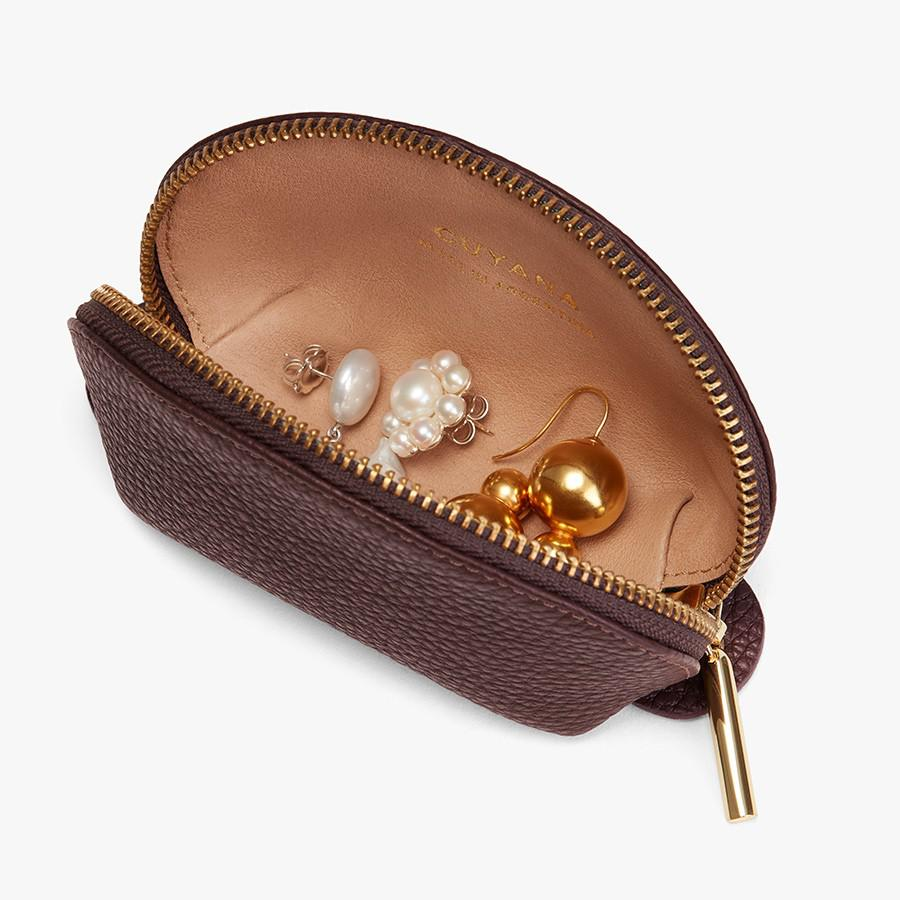 Women's Mini Travel Case in Burgundy | Pebbled Leather by Cuyana 1