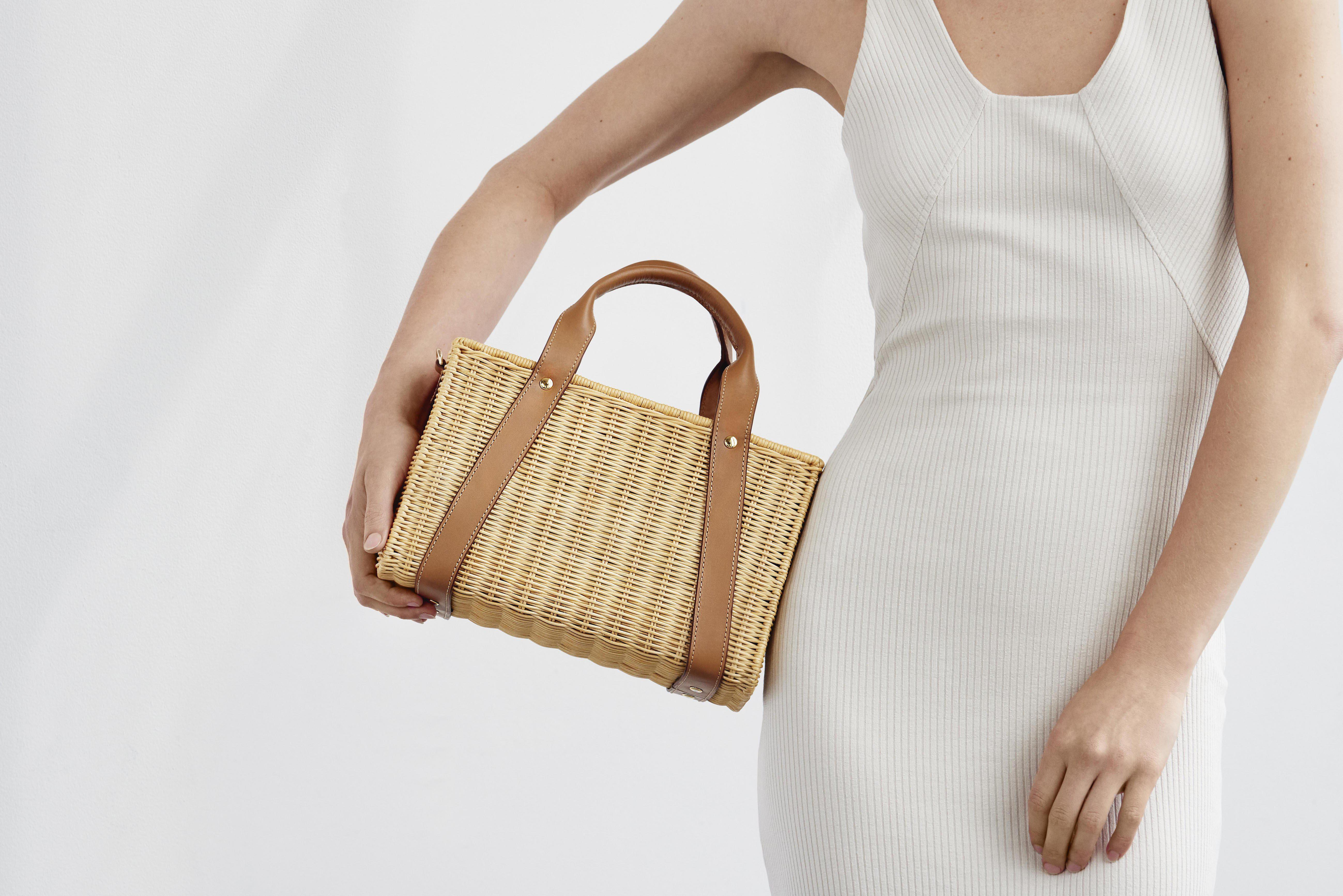 Daisy Leather-Trimmed Wicker Tote 4
