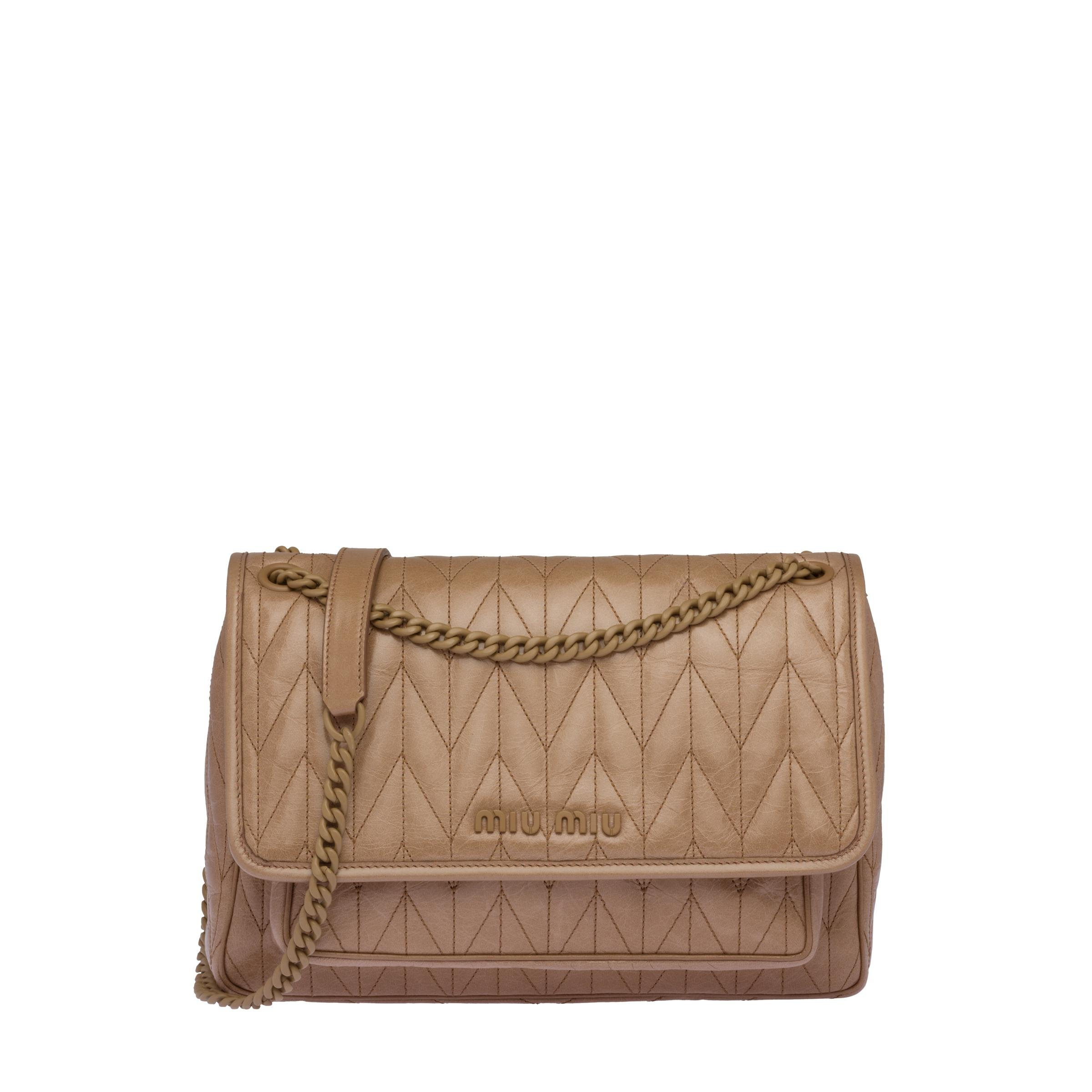 Quilted Shiny Leather Shoulder Bag Women Cameo Beige