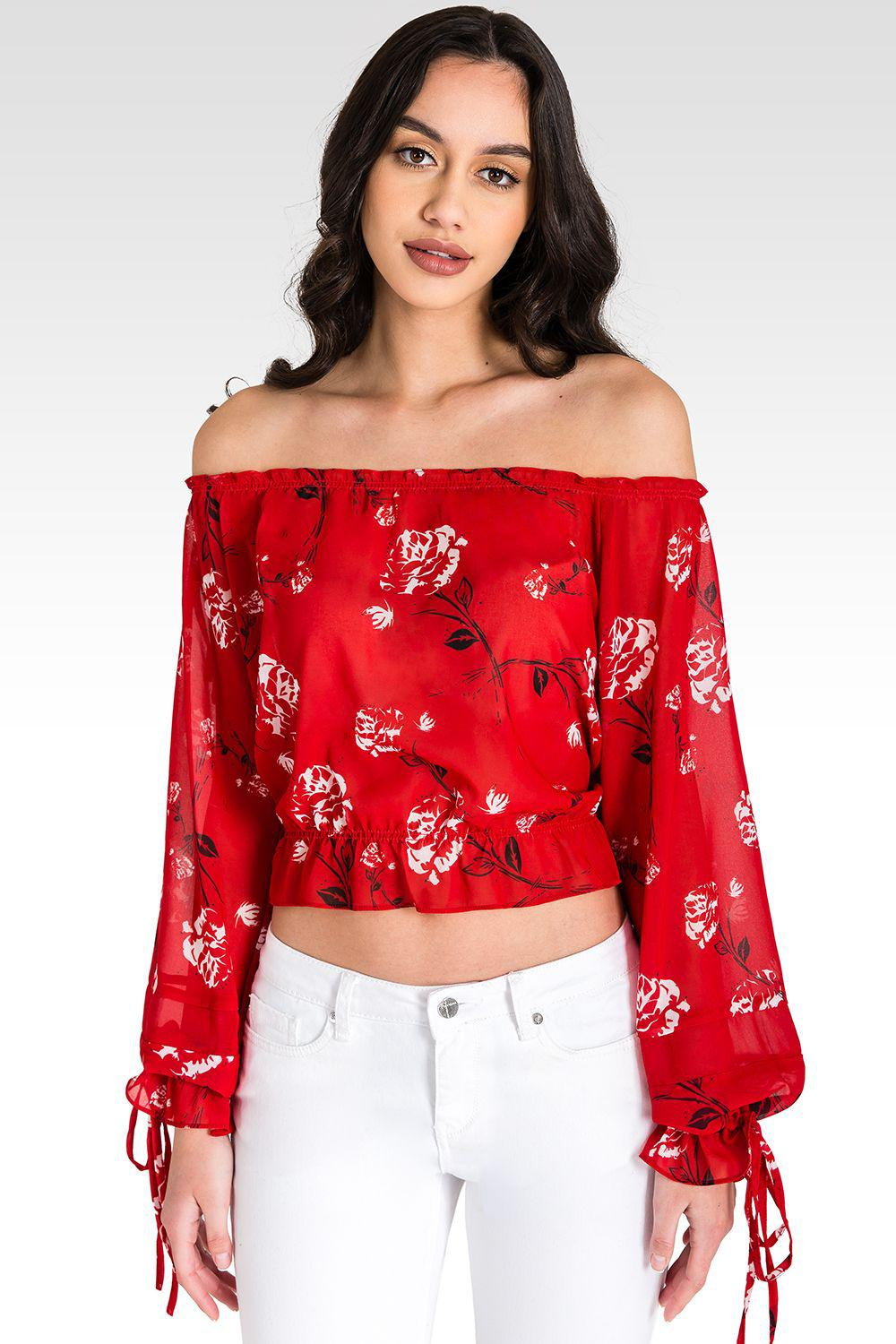 Marina Off Shoulder Tie Sleeve Red Blouse 2