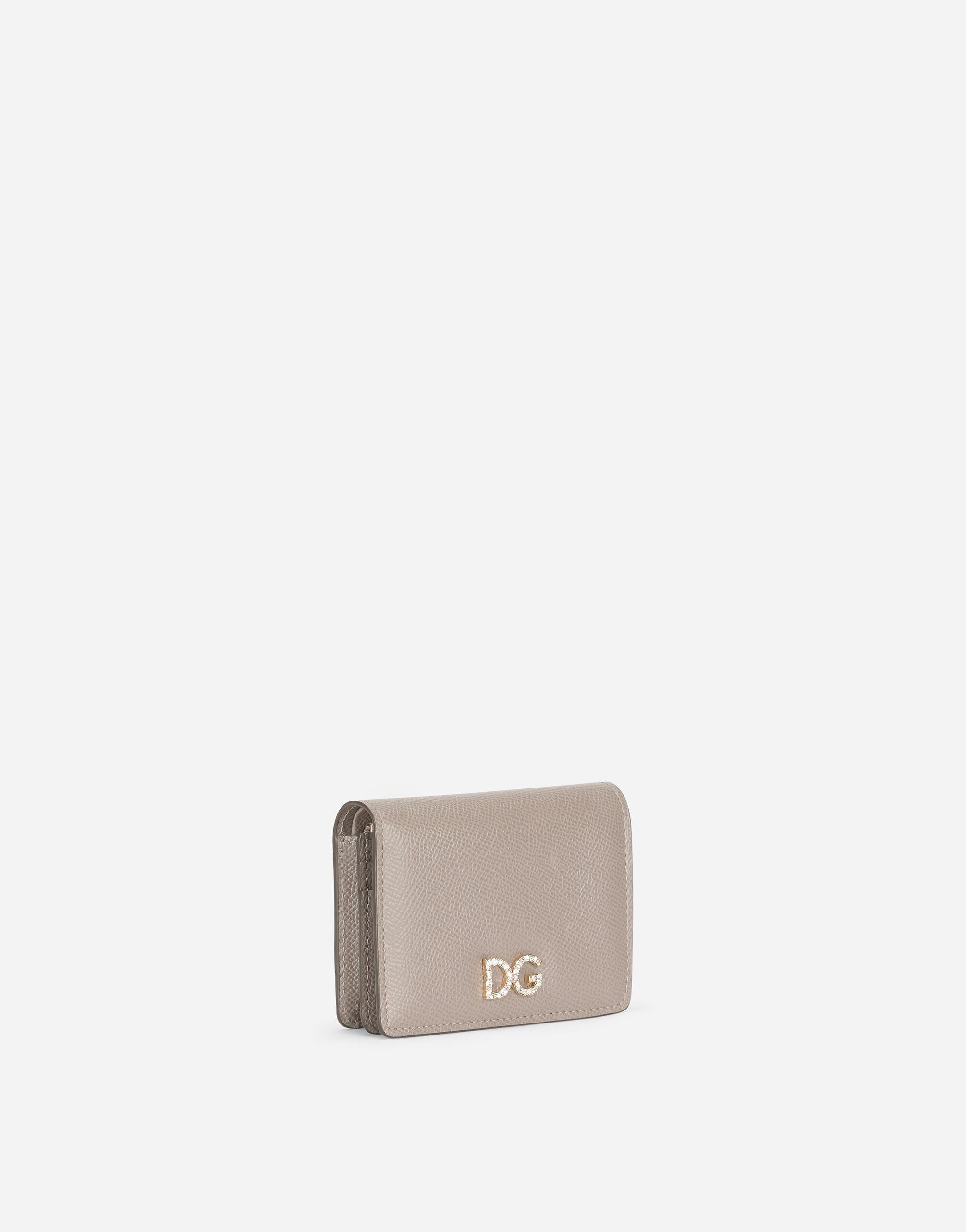 Small continental wallet in Dauphine calfskin with rhinestone-detailed DG logo 1