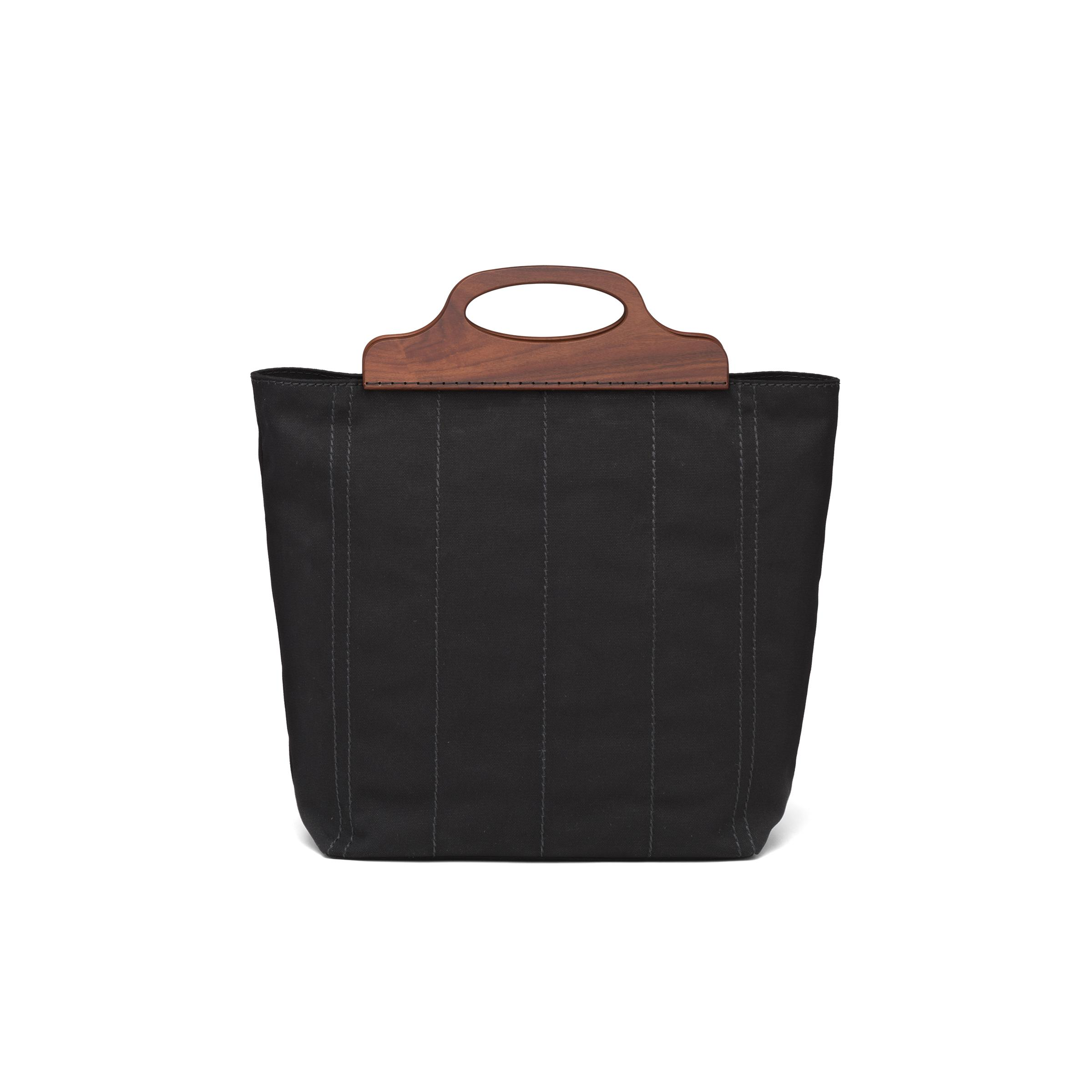 Medium Tote In Canvas And Wood Women Black 3