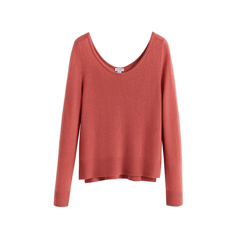 Women's Scoop Neck Sweater in Passion Fruit | Size: