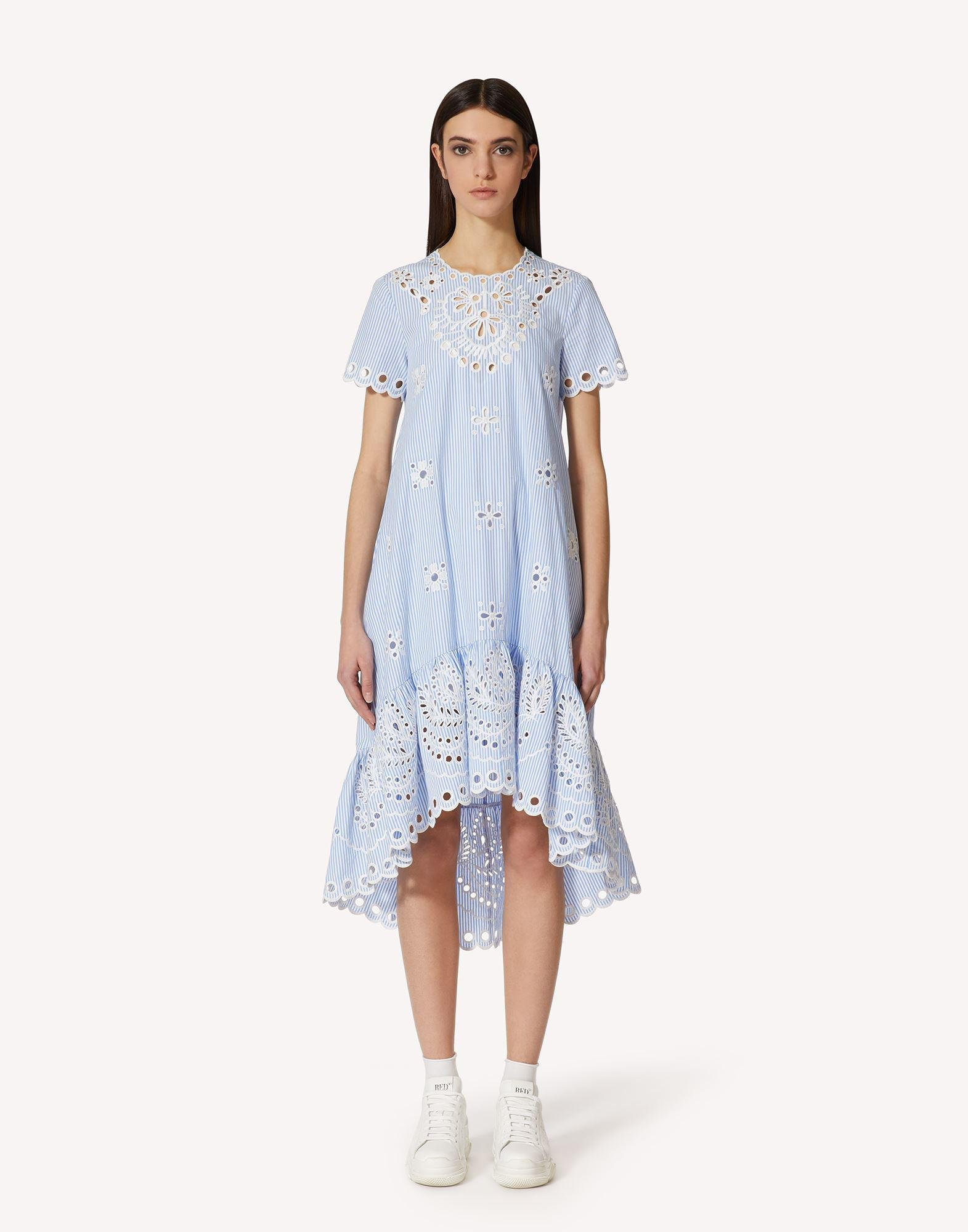 STRIPED COTTON DRESS WITH SANGALLO EMBROIDERY