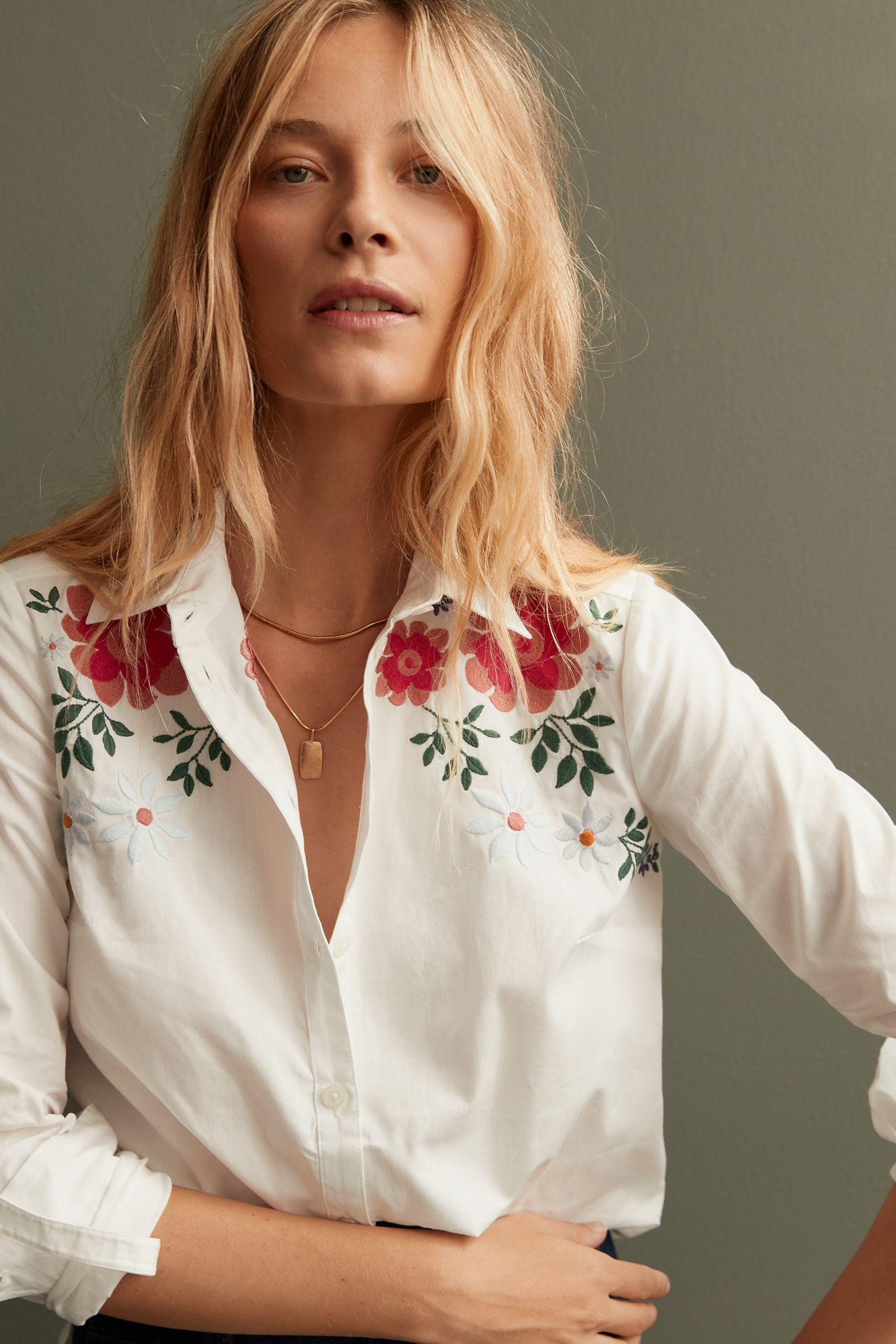 Maeve Embroidered Floral Buttondown
