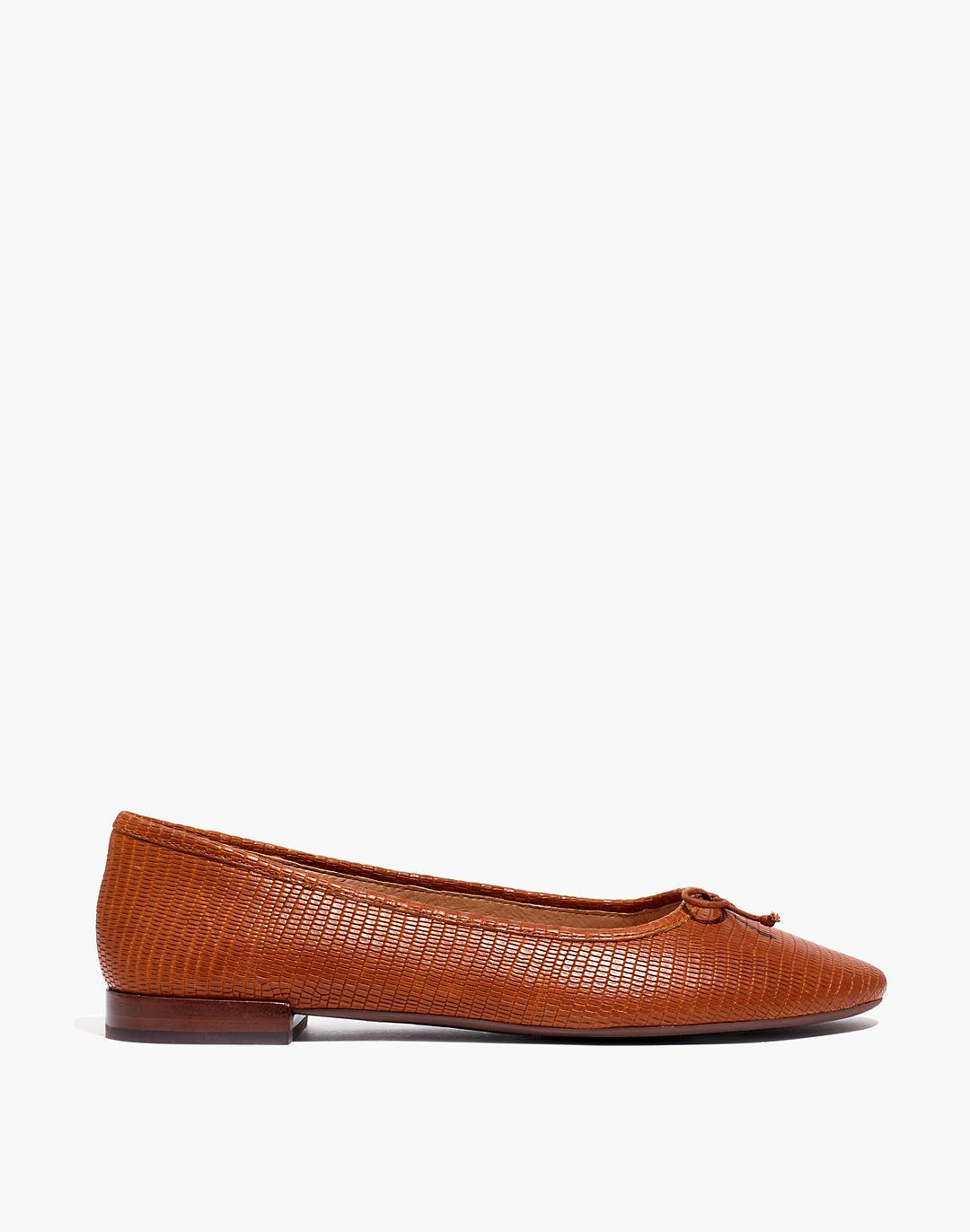 The Adelle Ballet Flat in Lizard Embossed Leather 1
