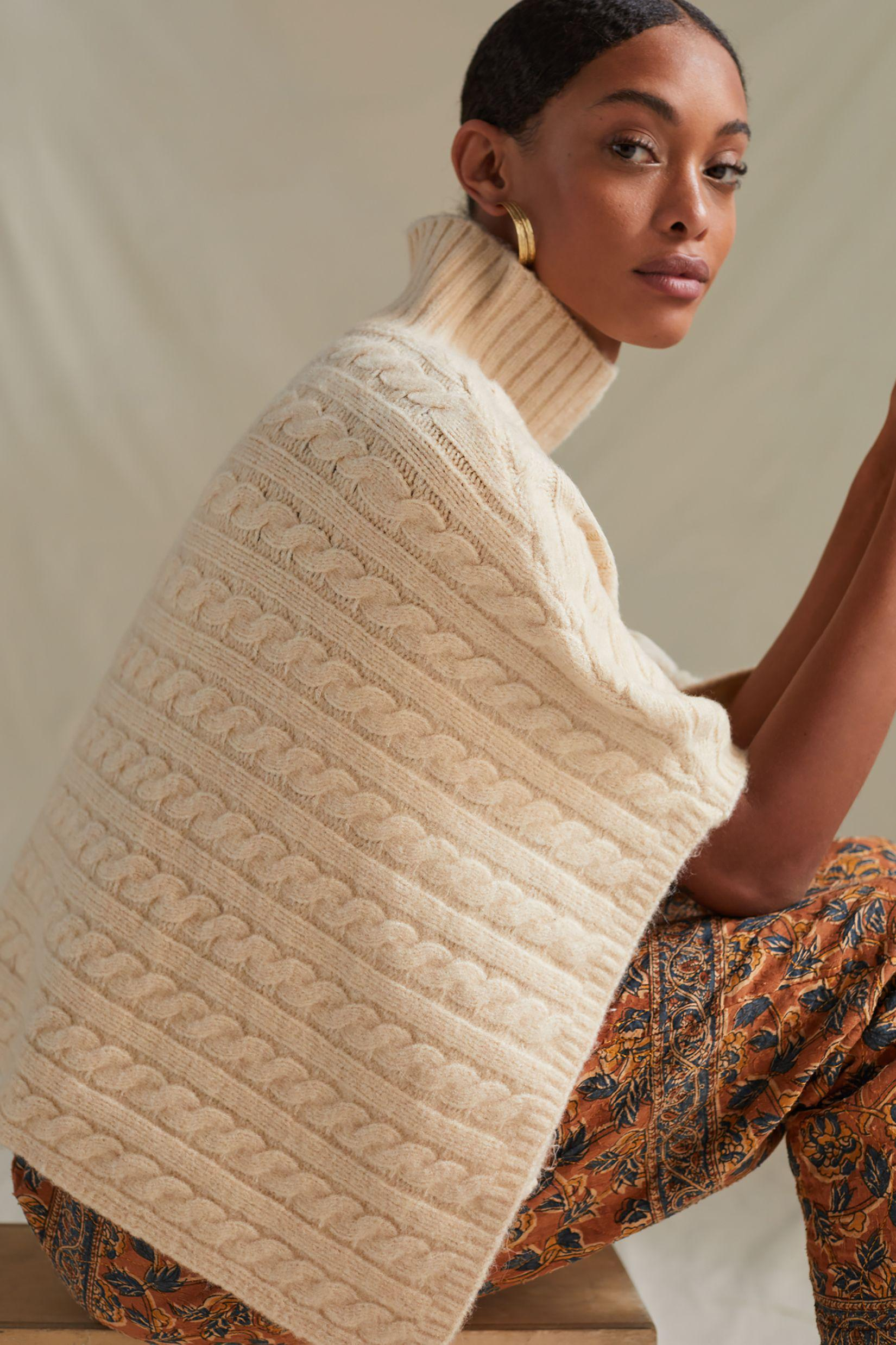 Cable-Knit Cropped Poncho