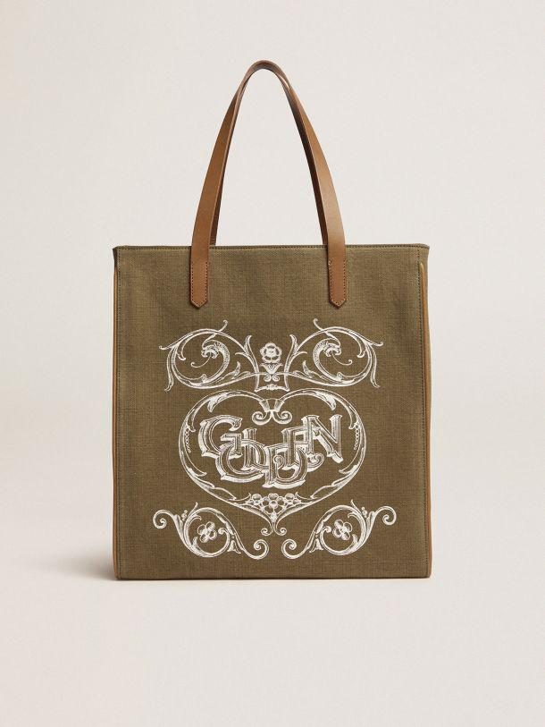 California Bag in military-green North-South canvas with screen print