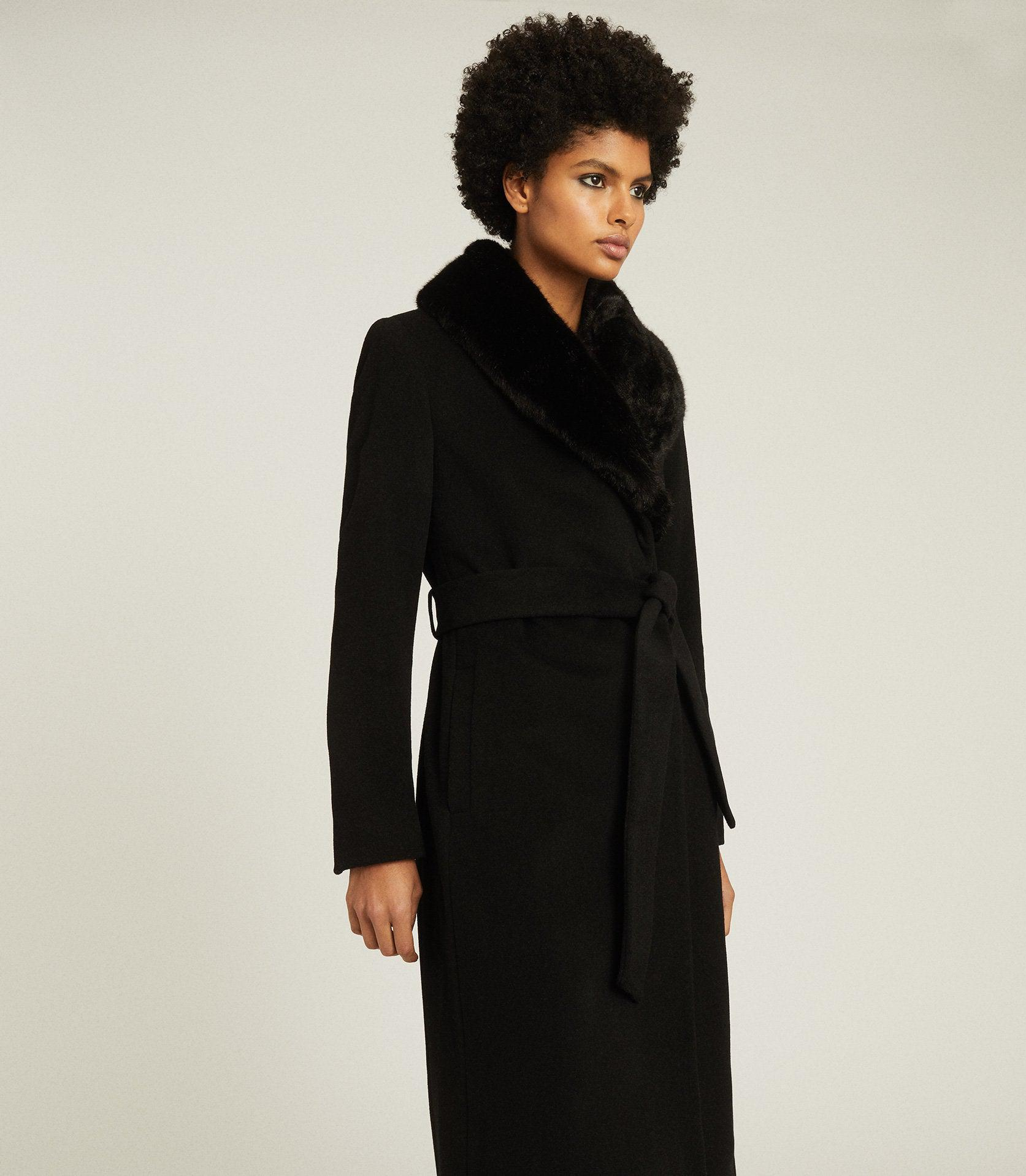 PACEY - FAUX FUR SHAWL COLLAR OVERCOAT 1