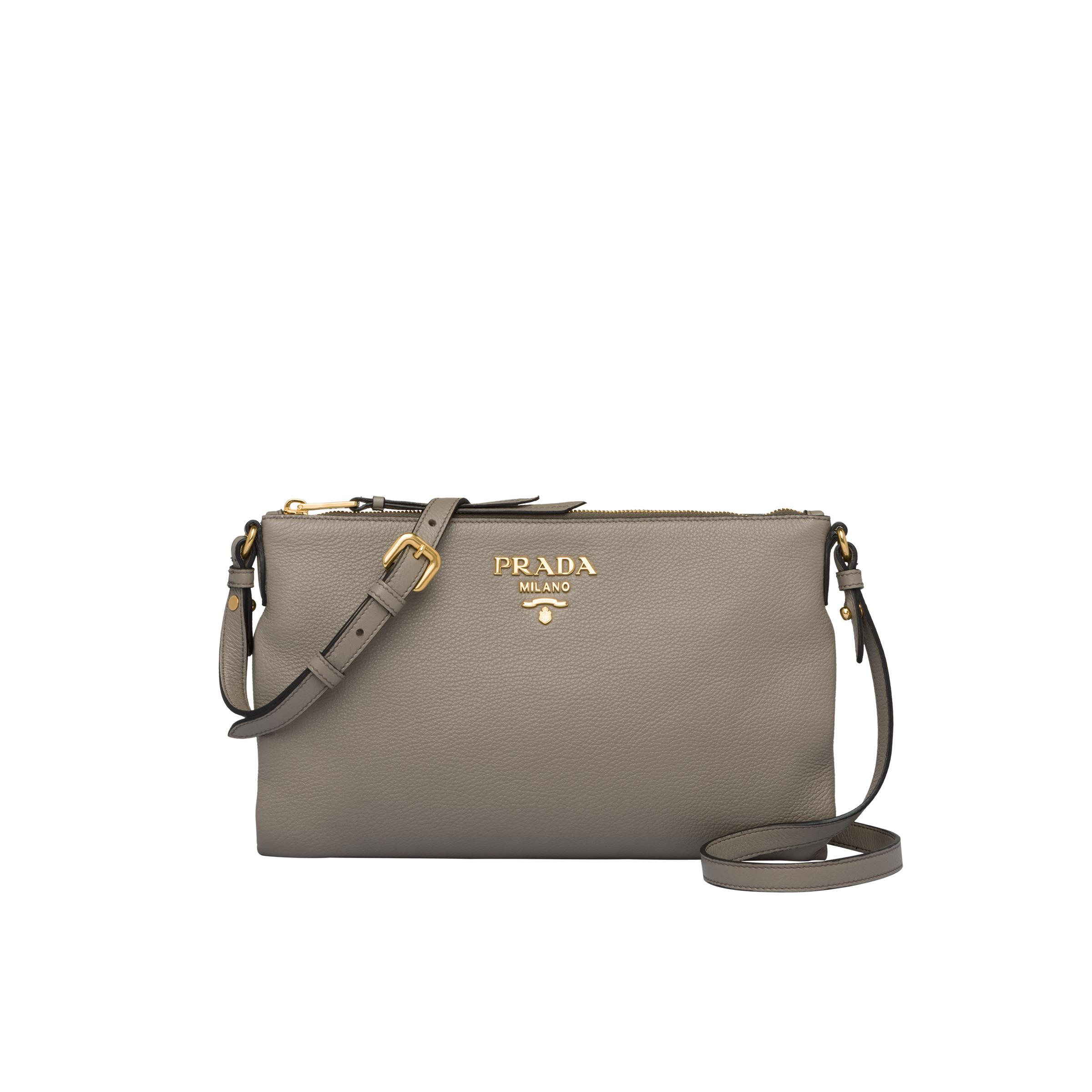 Leather Shoulder Bag Women Clay Gray