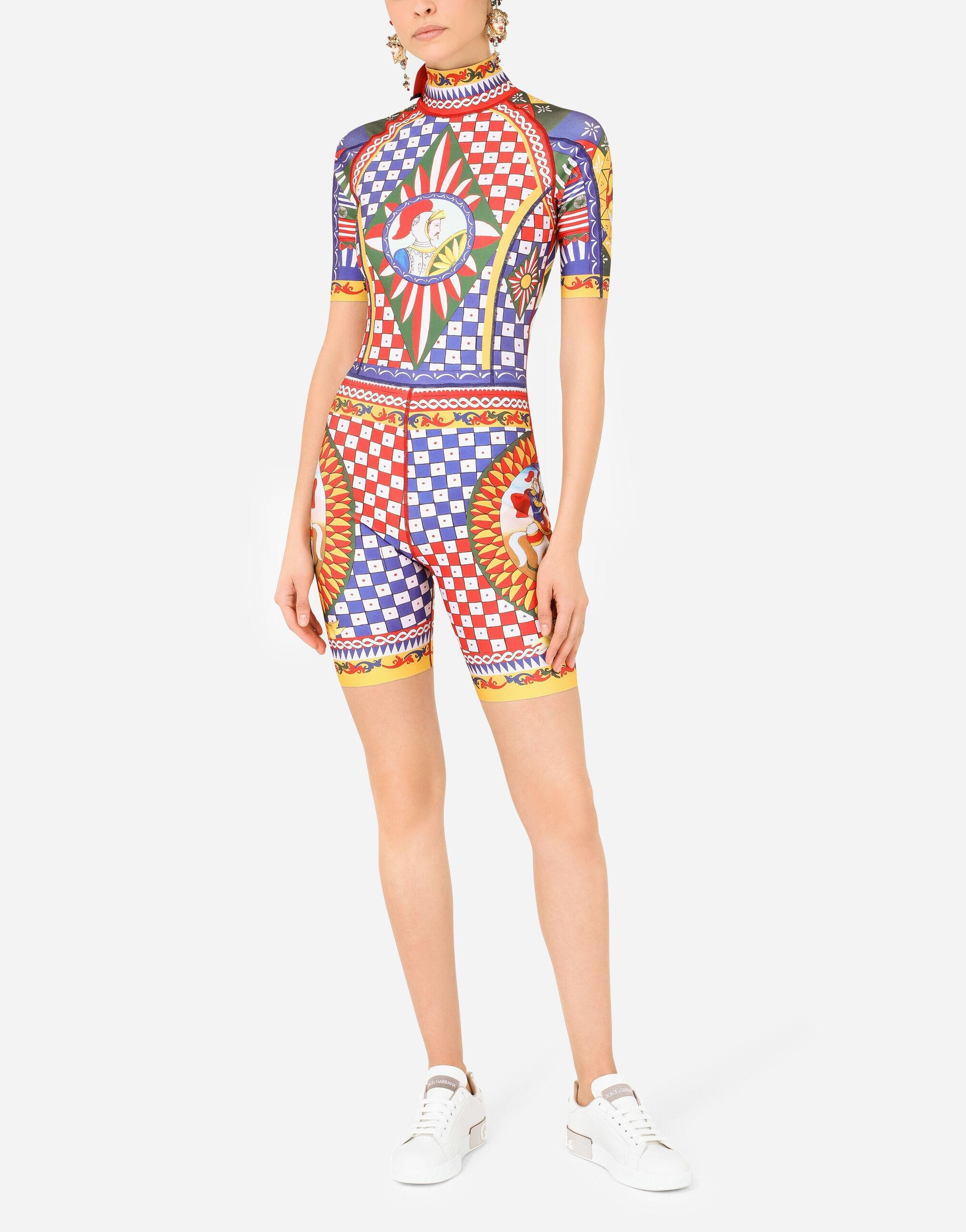 Short Carretto-print spandex jersey wetsuit