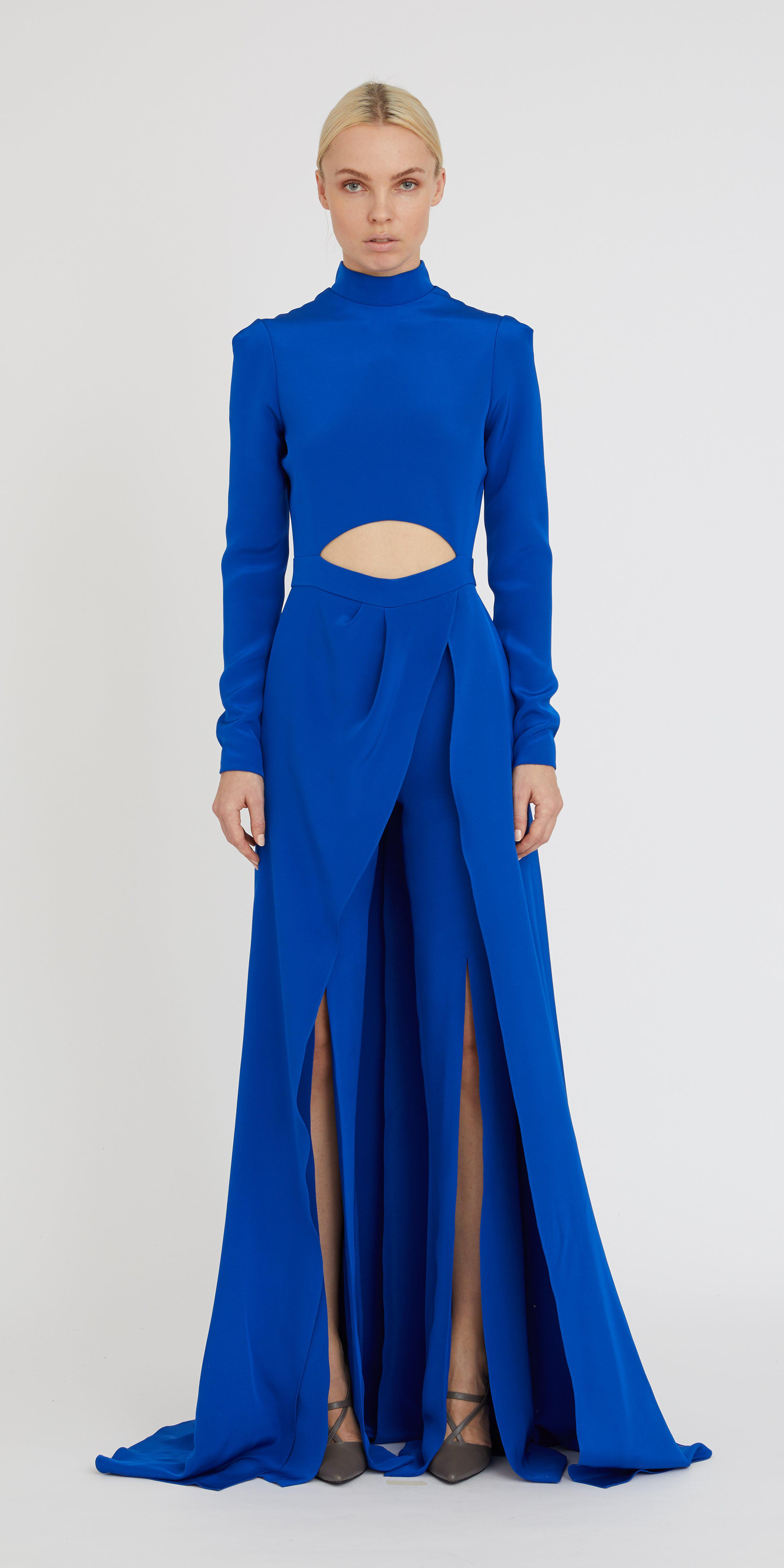 CREPE CUT-OUT JUMPSUIT WITH OVERSKIRT 1
