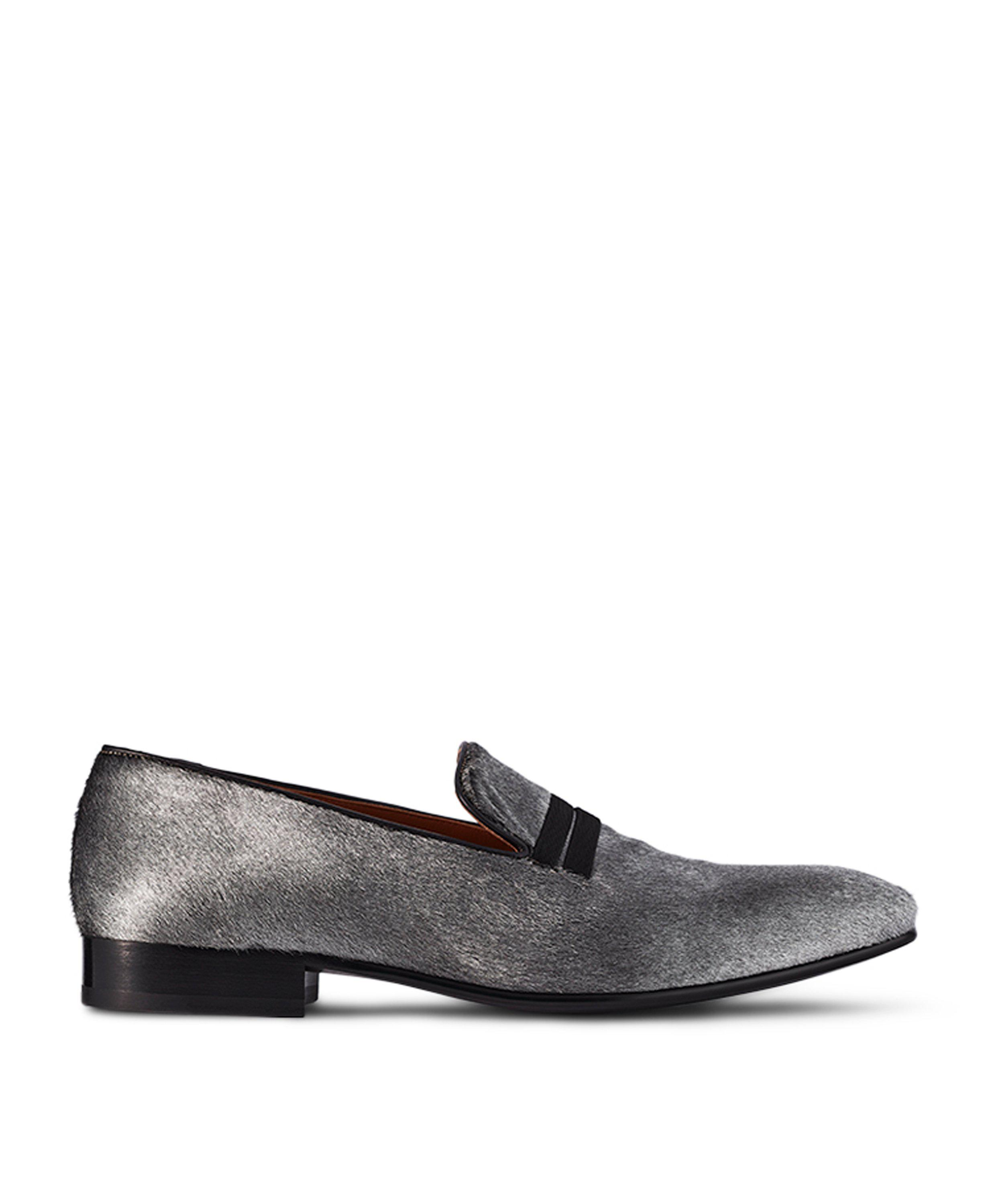 MILES SILVER CALF LOAFERS