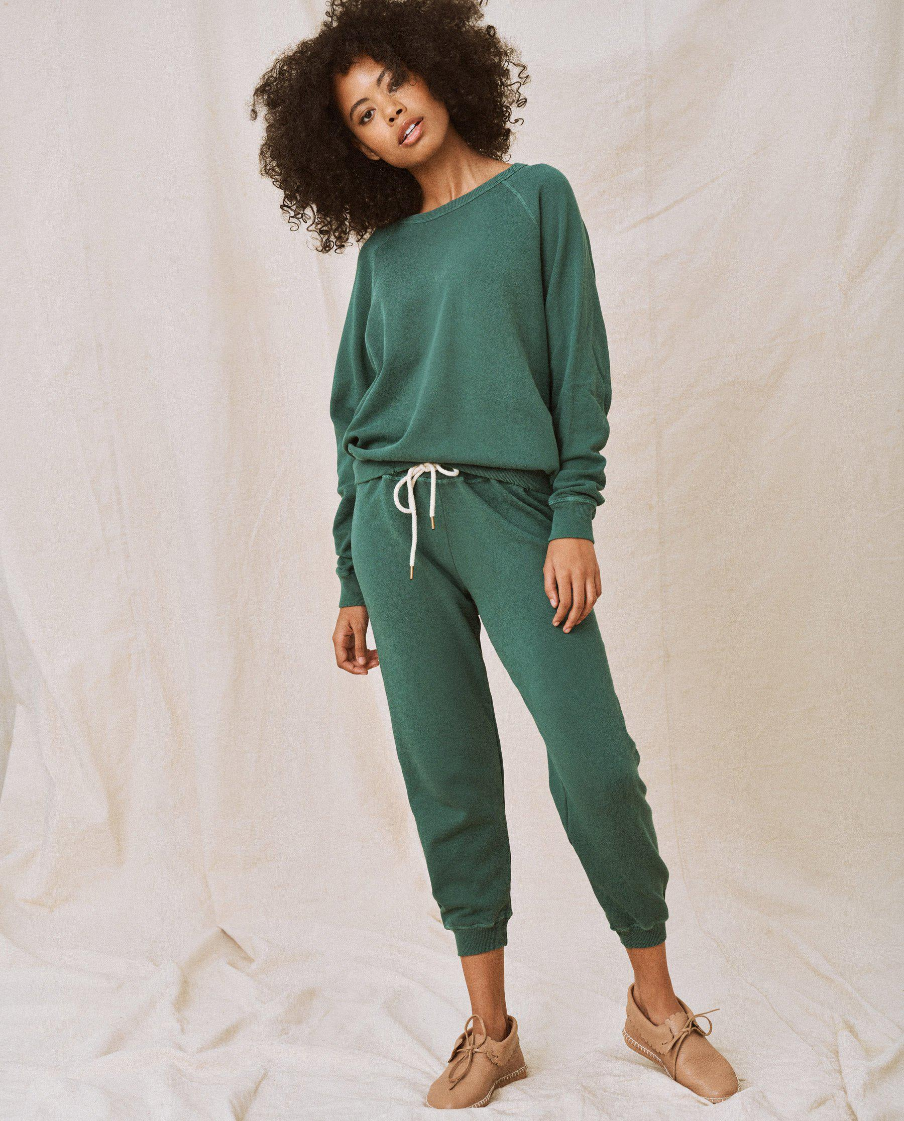 The Cropped Sweatpant. Solid -- Palm Leaf