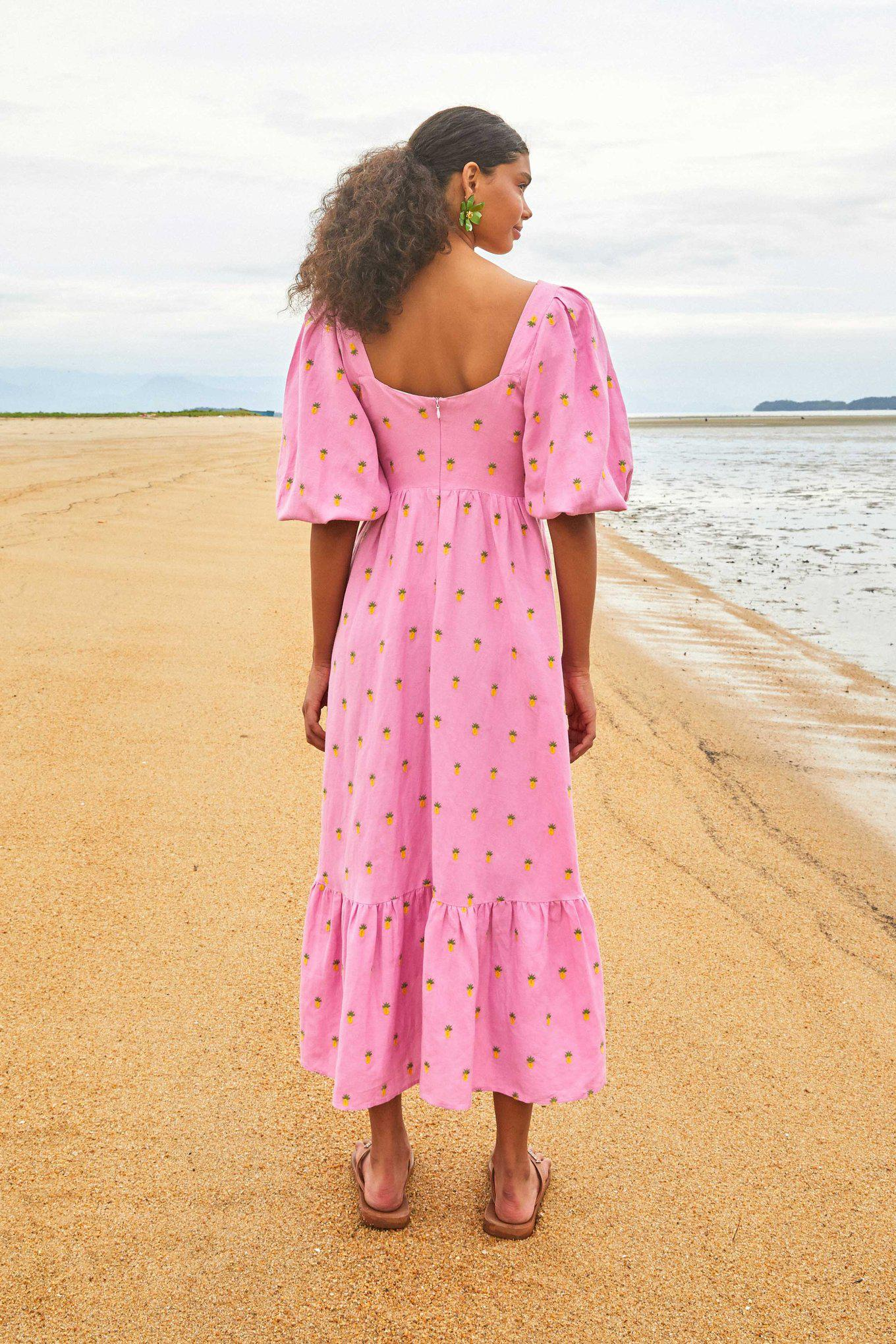 EMBROIDERED PINEAPPLES PINK MIDI DRESS 1