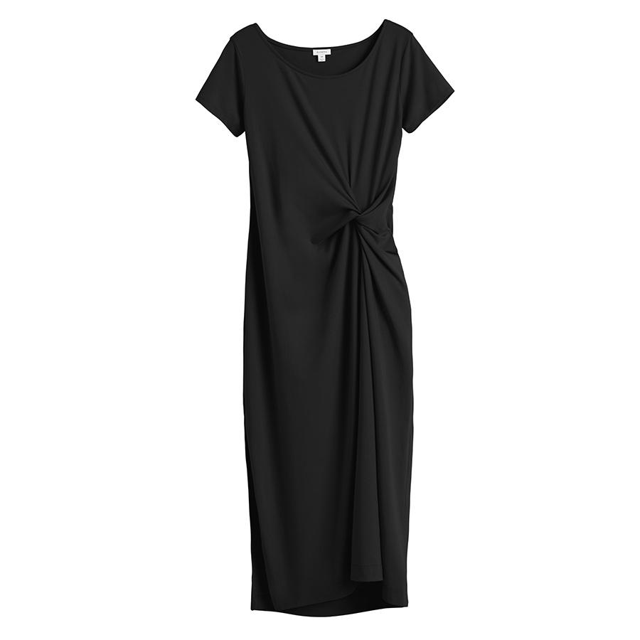 Women's Gathered Front Tee Dress in Black | Size: