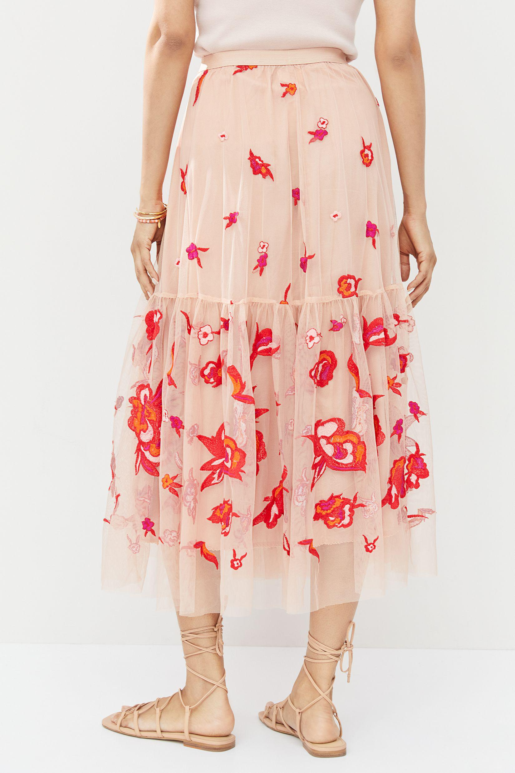 Maeve Embroidered Tulle Maxi Skirt 1