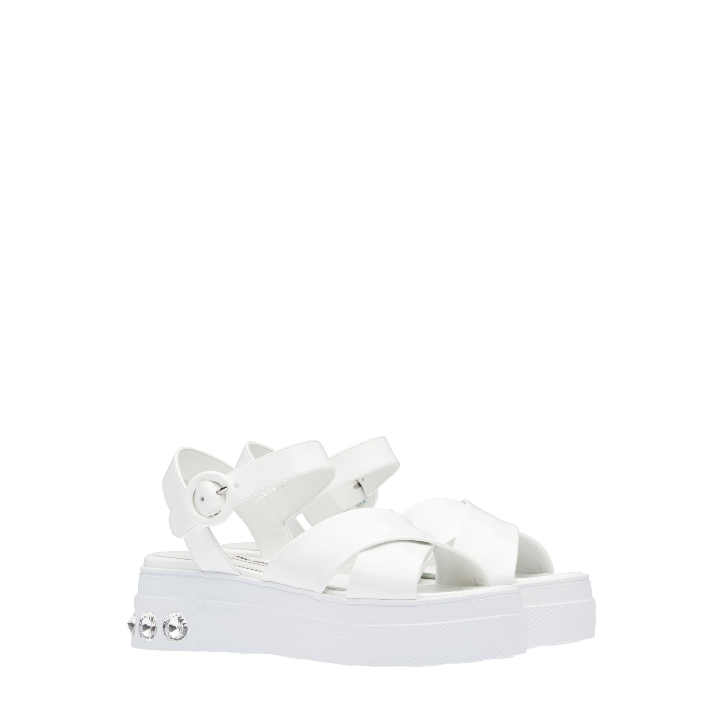 Patent Leather Sandals Women White