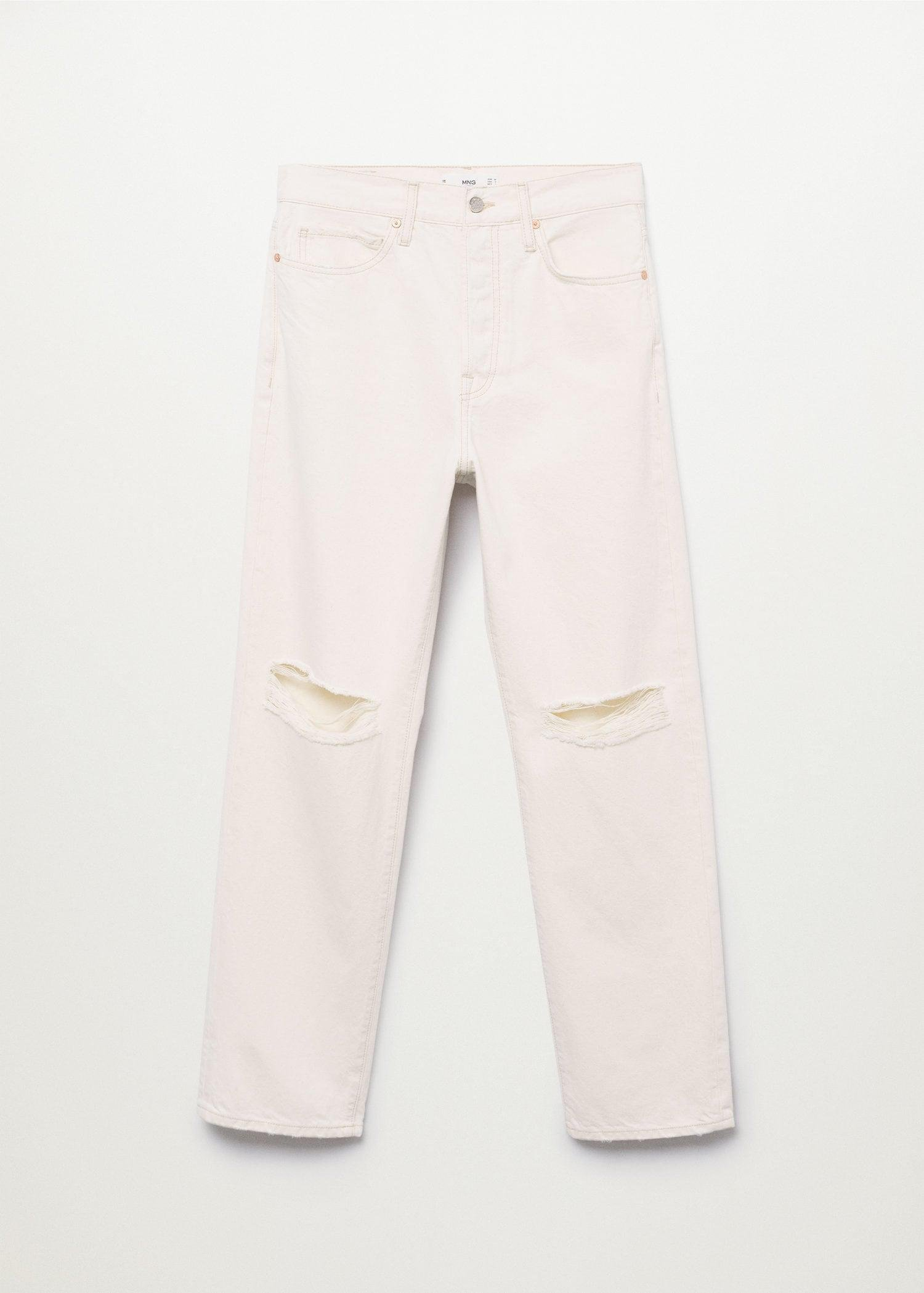 Decorative rips relaxed jeans 9