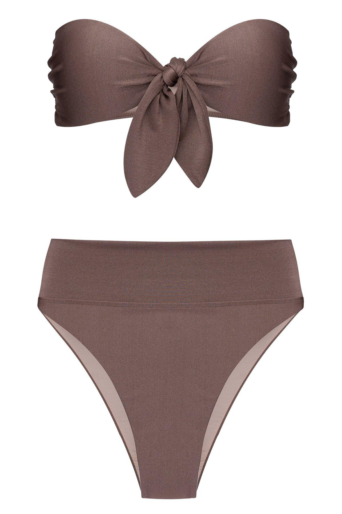 Solid High-leg Strapless Bikini With Knot 3